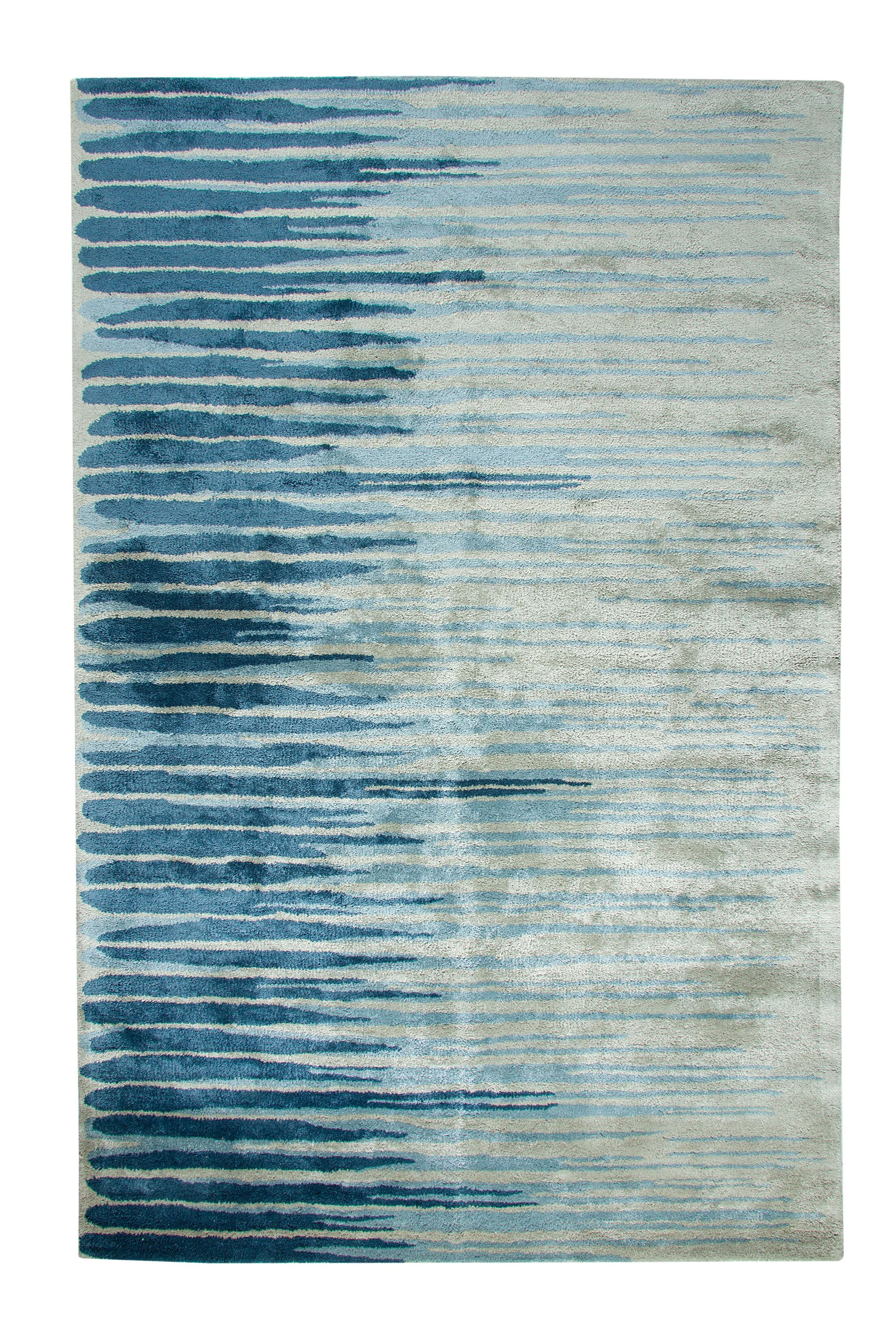 Vogue Hand-Woven Wool Blue/Gray Area Rug Rug Size: Rectangle 5' x 8'
