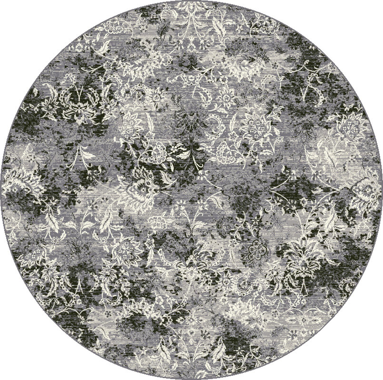 Attell Gray Area Rug Rug Size: Round 5'3