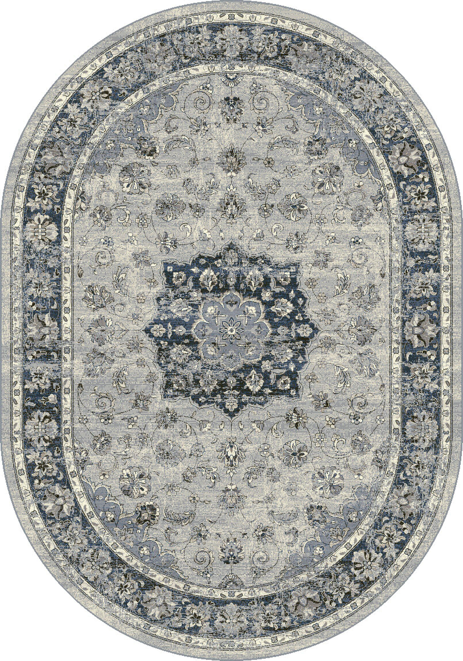 Attell Oriental Gray Area Rug Rug Size: Oval 5'3