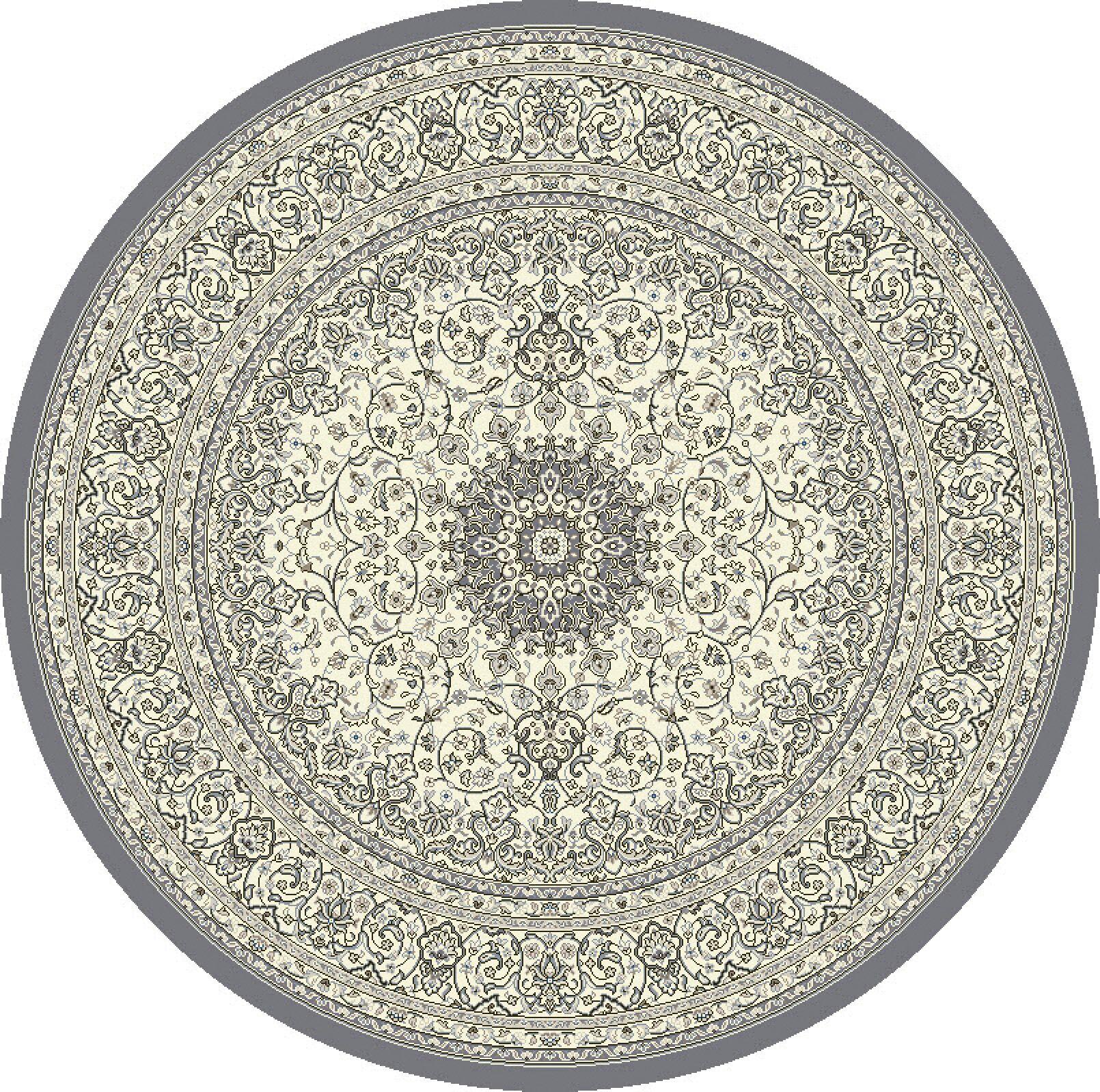 Attell Gray/Cream Area Rug Rug Size: Round 7'10