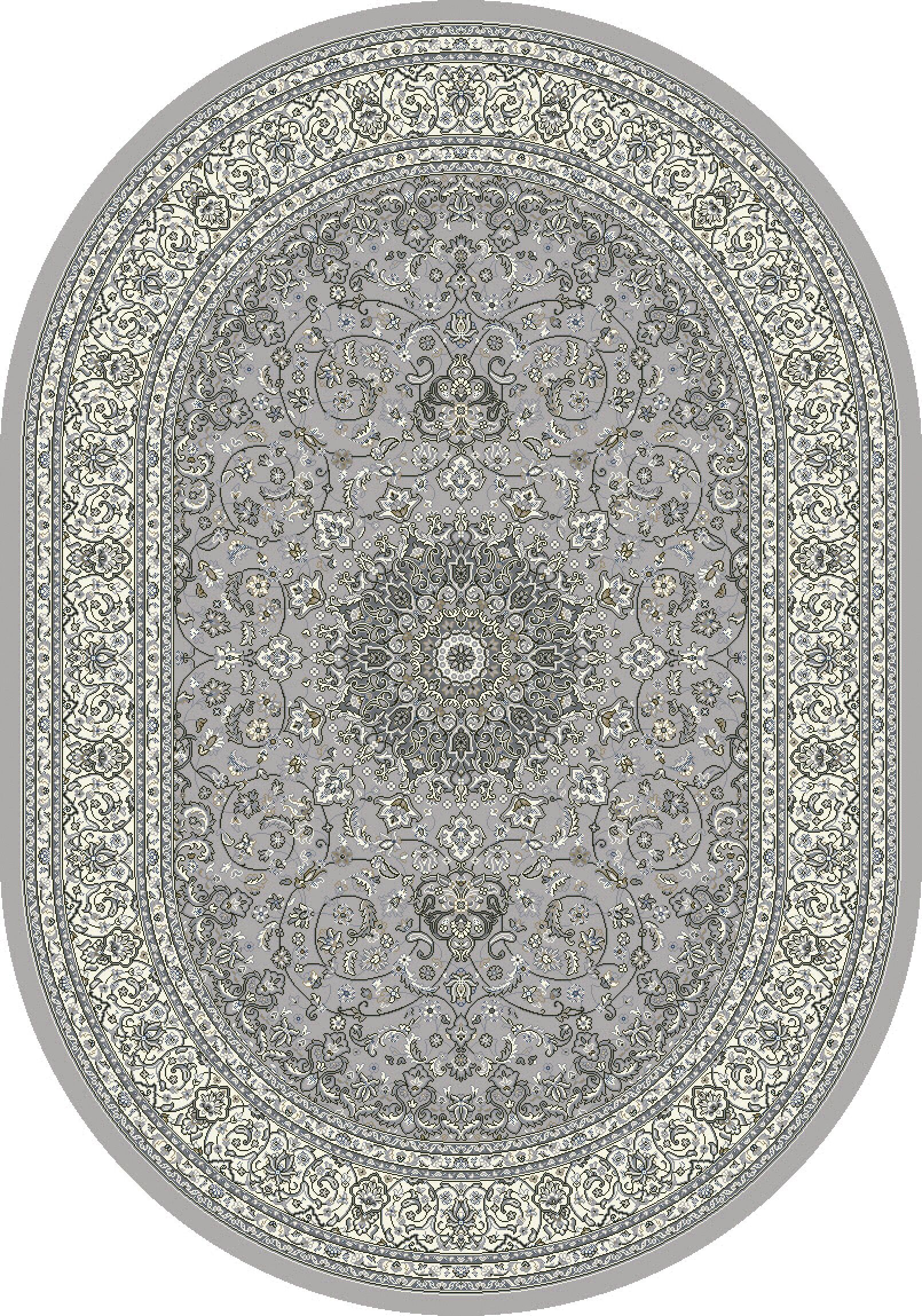 Attell Soft Gray/Cream Area Rug Rug Size: Oval 6'7