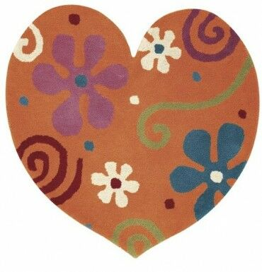 Fantasia Heart Tufted Wool Orange Area Rug Rug Size: Novelty 3' x 3'