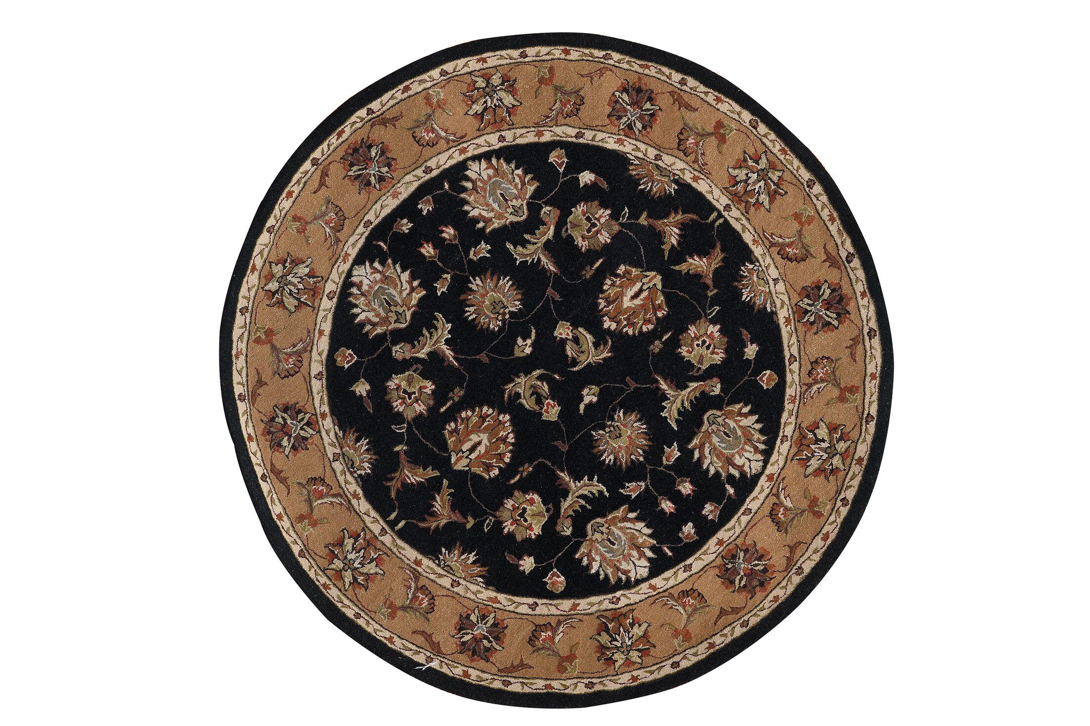 Java Black/Camel Rug Rug Size: Round 5'3