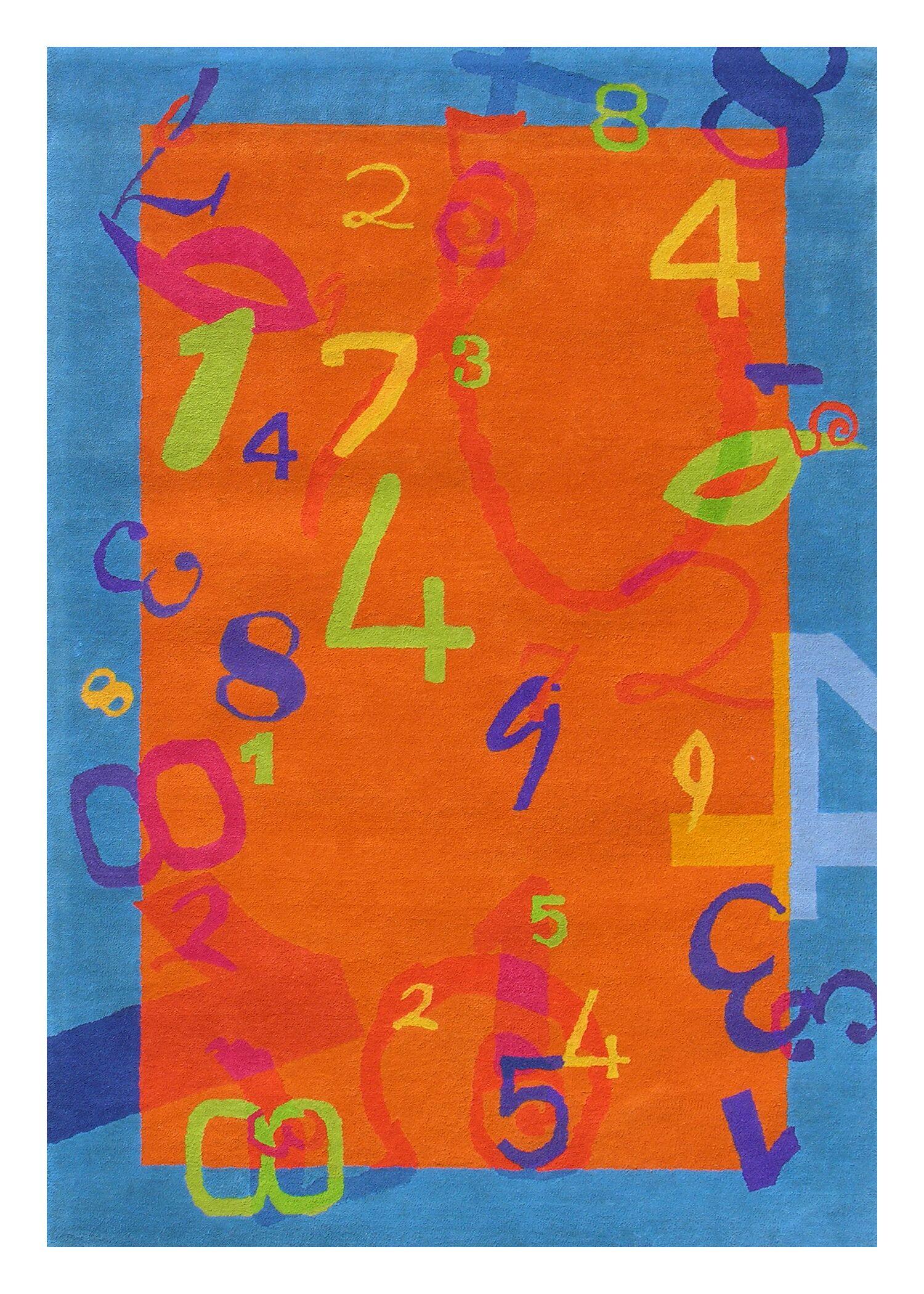 Fantasia Tufted Wool Orange/Blue Area Rug Rug Size: Rectangle 7'6