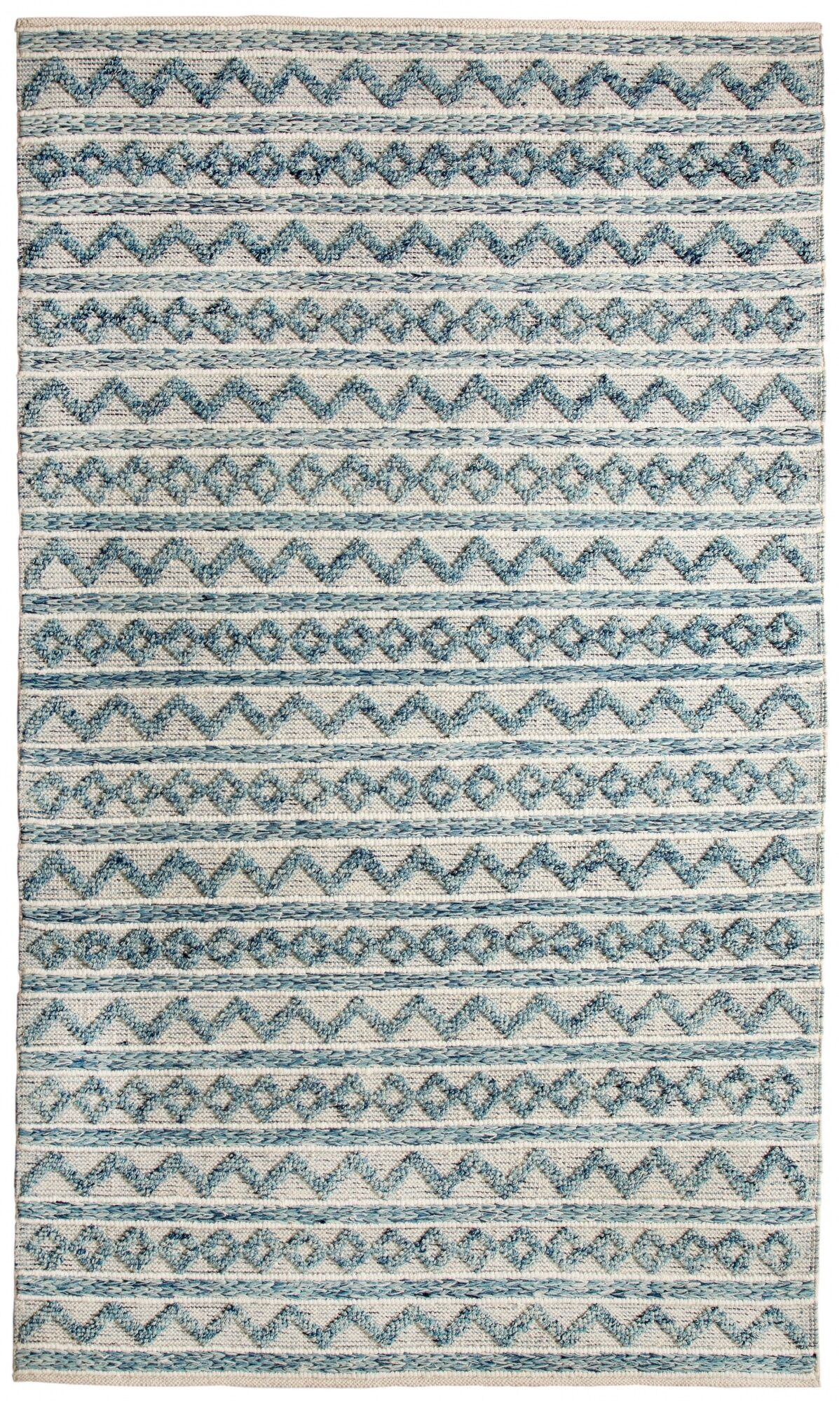 Edwa Hand-Woven Teal/Ivory Area Rug Rug Size: Rectangle 2' x 4'