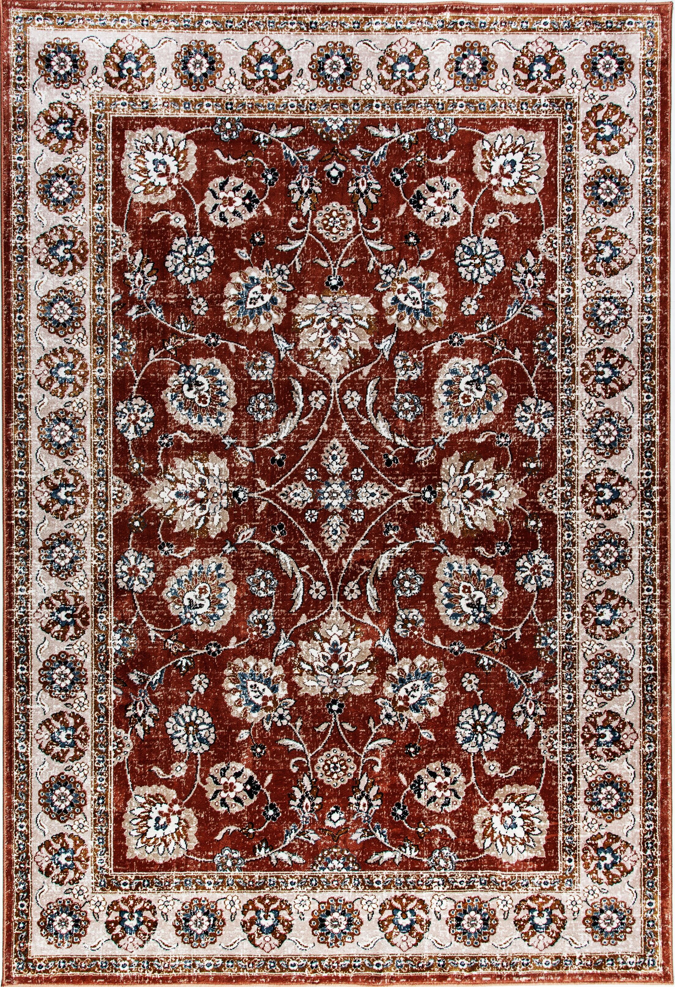 Aniyah Red/Beige Area Rug Rug Size: Rectangle 3'6