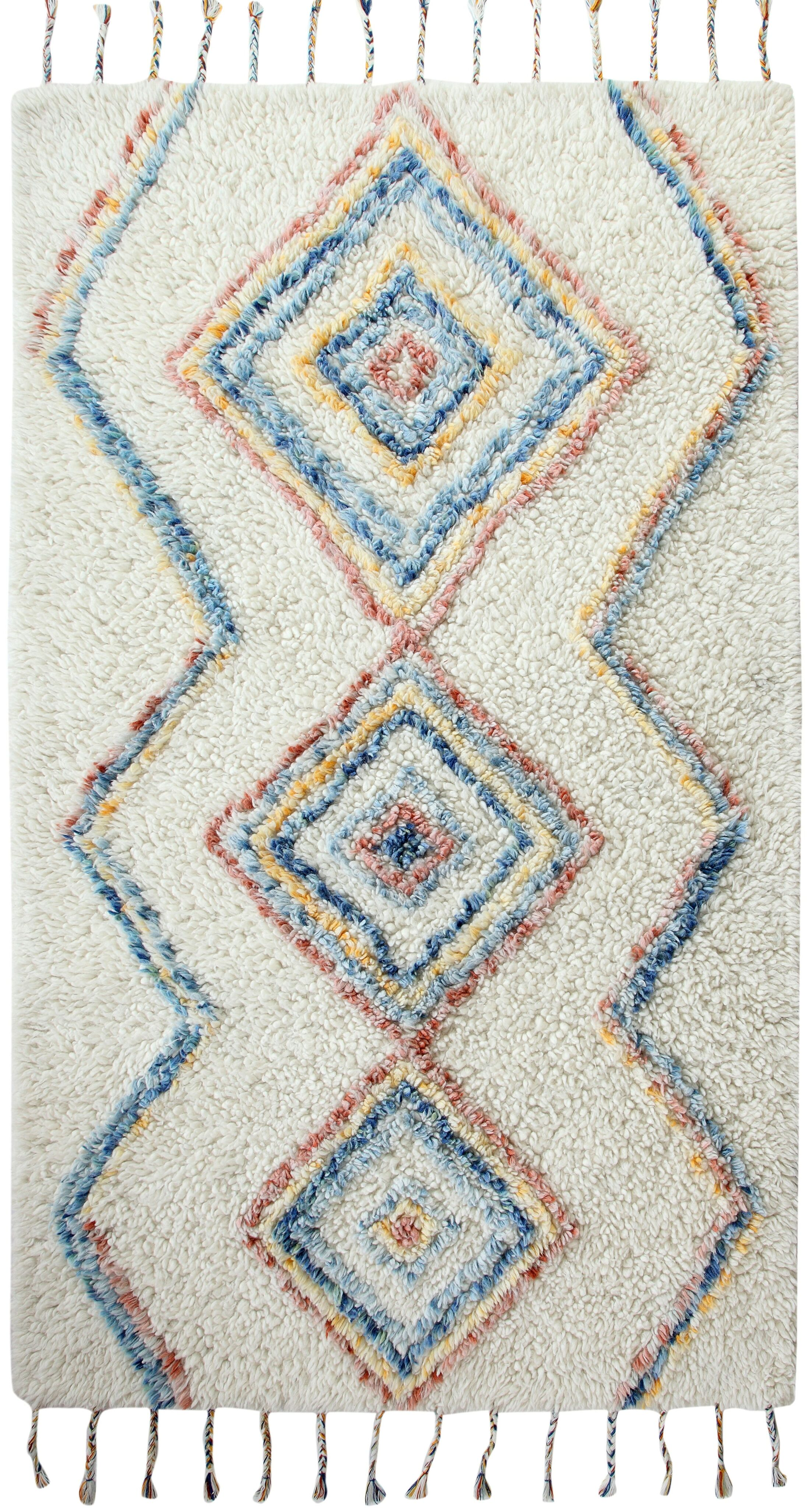 Keely Hand-Woven Beige/Blue/Red Area Rug Rug Size: Rectangle 3' x 5'