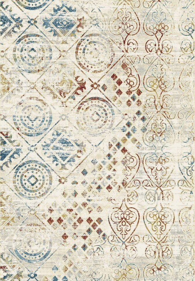 Rosario Ivory/Blue/Red Area Rug Rug Size: Rectangle 3'6