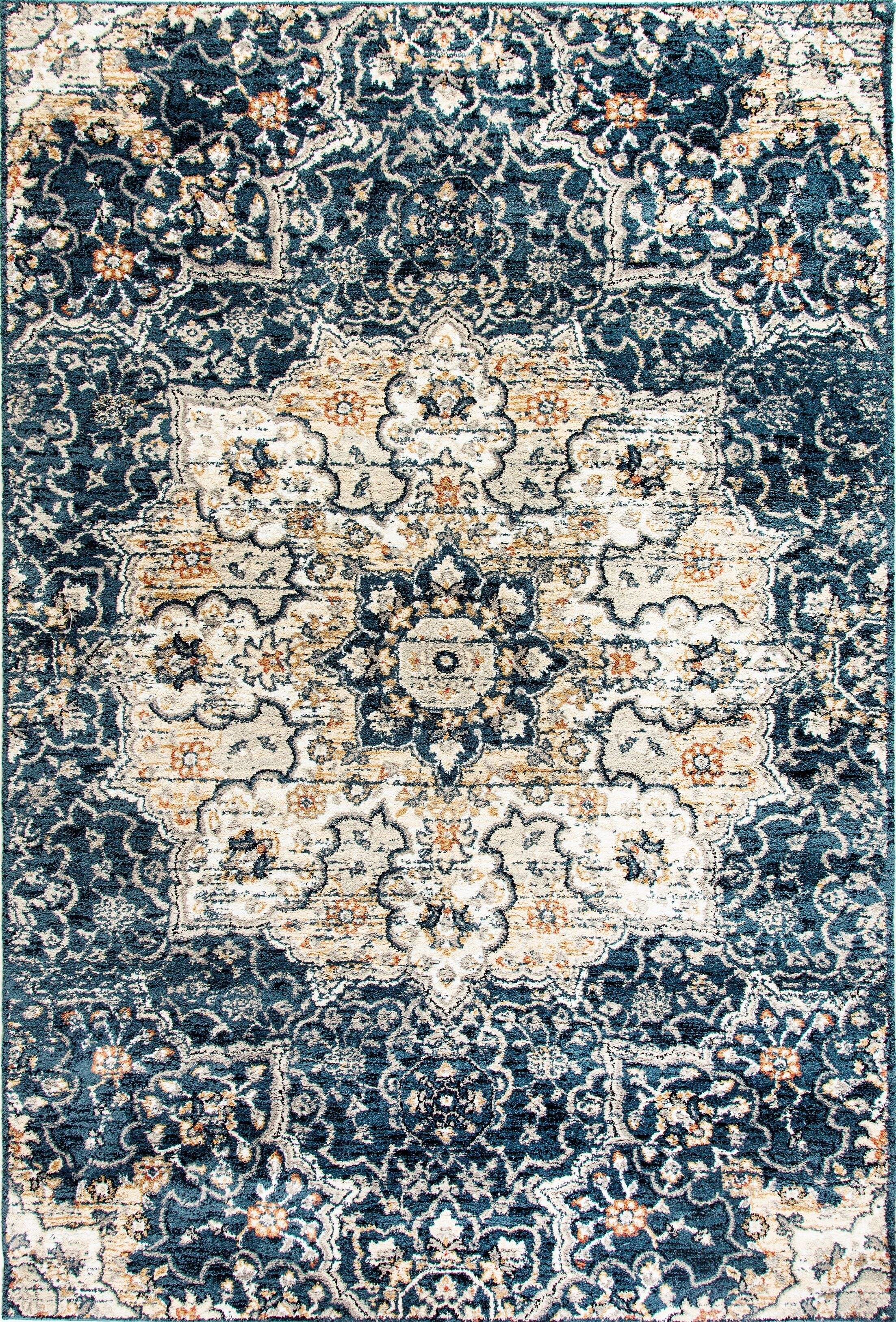 Cortes Navy Area Rug Rug Size: Rectangle 6'7