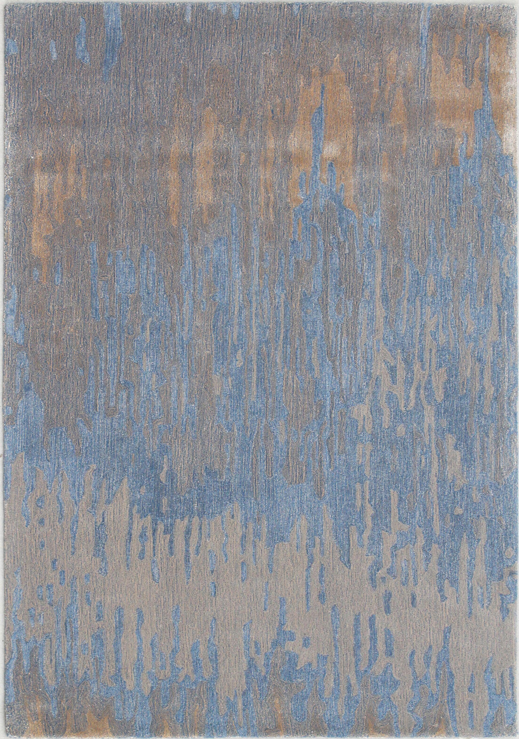 Opal Handmade Blue/Gold Area Rug Rug Size: Rectangle 5' x 8'