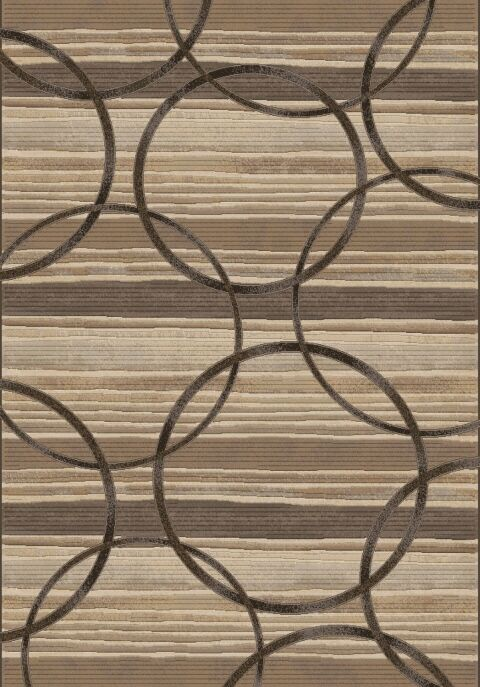 Makiver Brown Circles Area Rug Rug Size: Rectangle 6'7