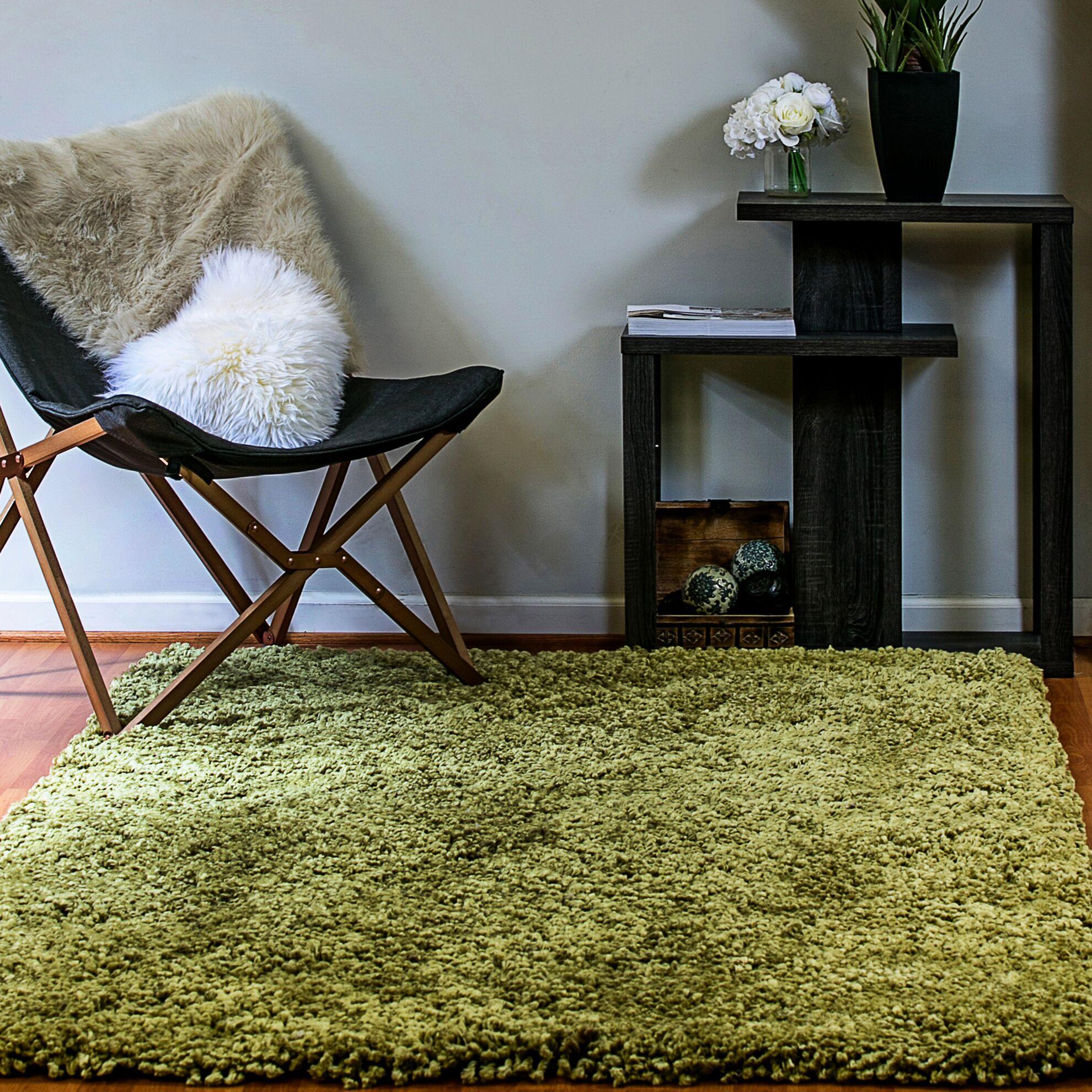 Luxury Shag Olive Area Rug Rug Size: Rectangle 3' x 5'