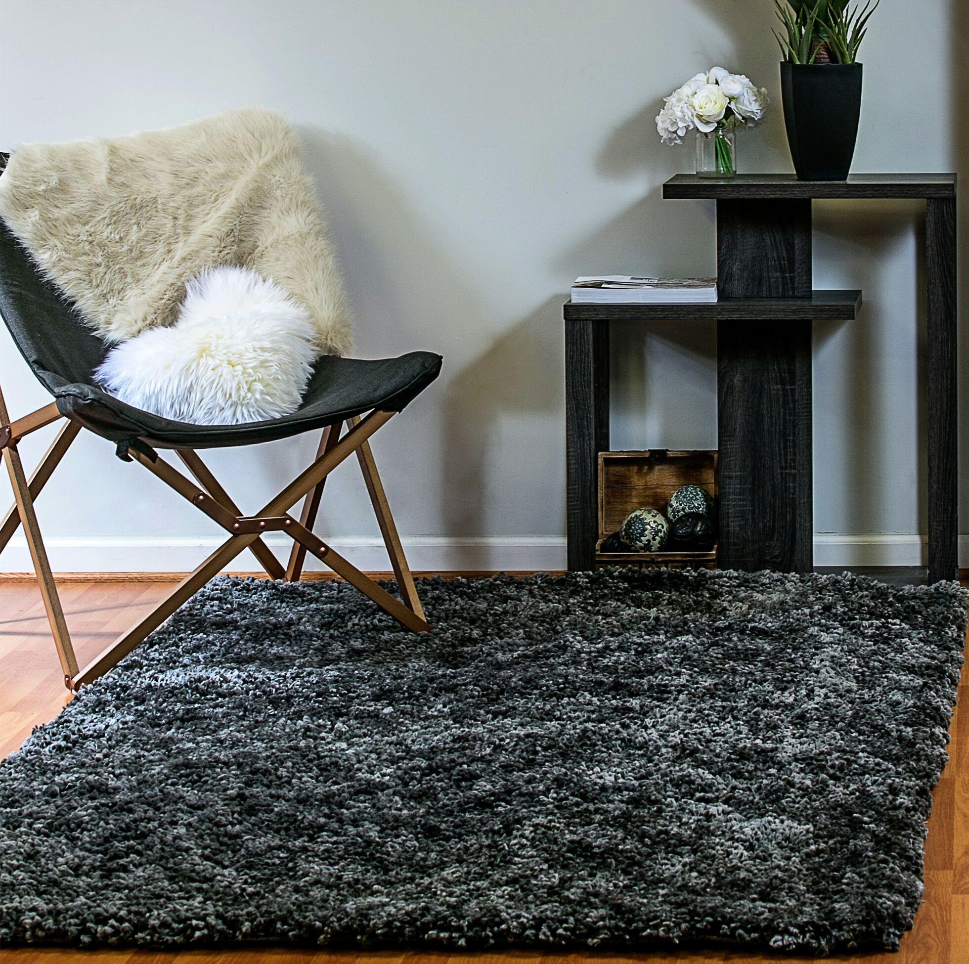 Luxury Shag Dark Gray Area Rug Rug Size: Rectangle 5' x 8'