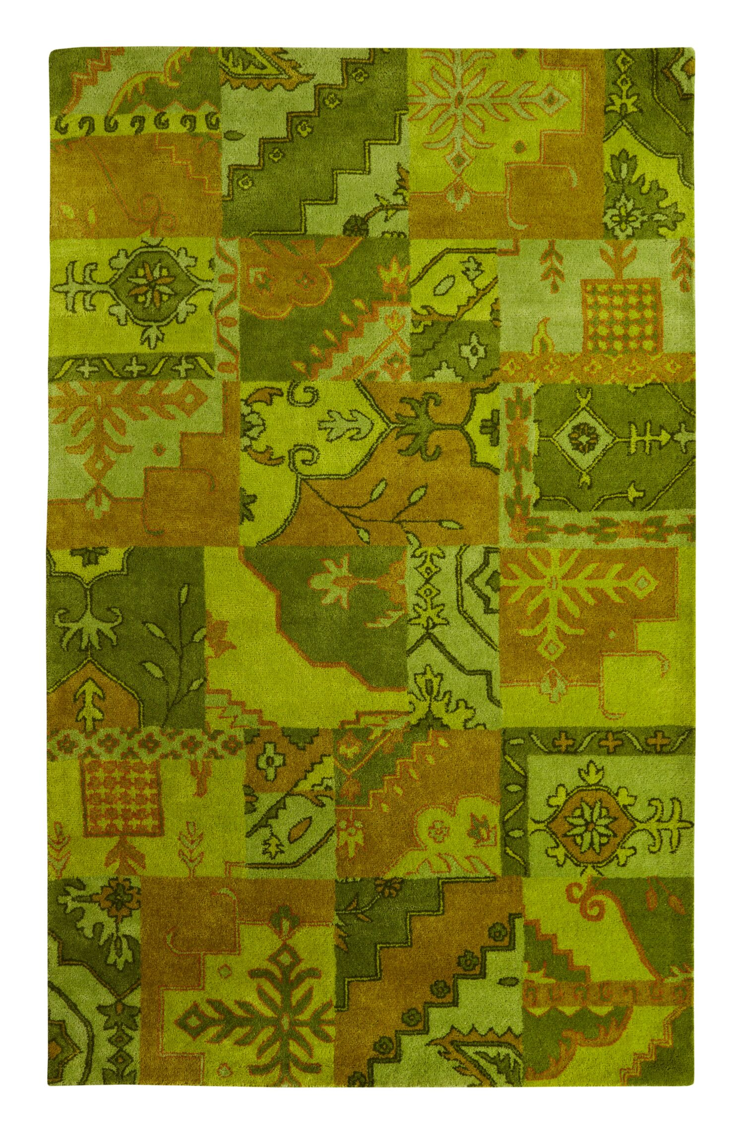 Eaman Tufted Wool Green/Brown Area Rug Rug Size: Rectangle 5' x 8'