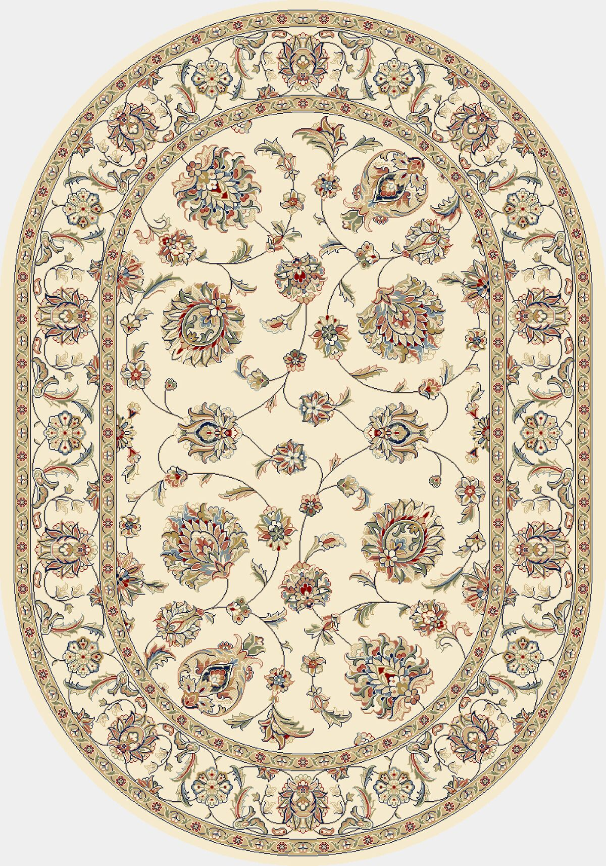Attell Ivory/Ivory Area Rug Rug Size: Oval 2'7