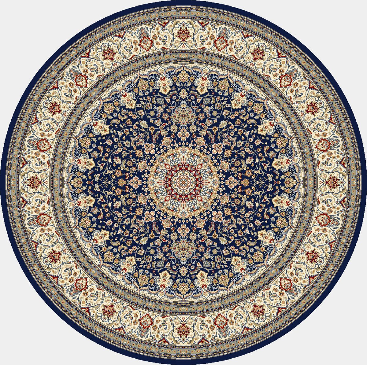 Attell Oriental Blue/Ivory Area Rug Rug Size: Round 7'10