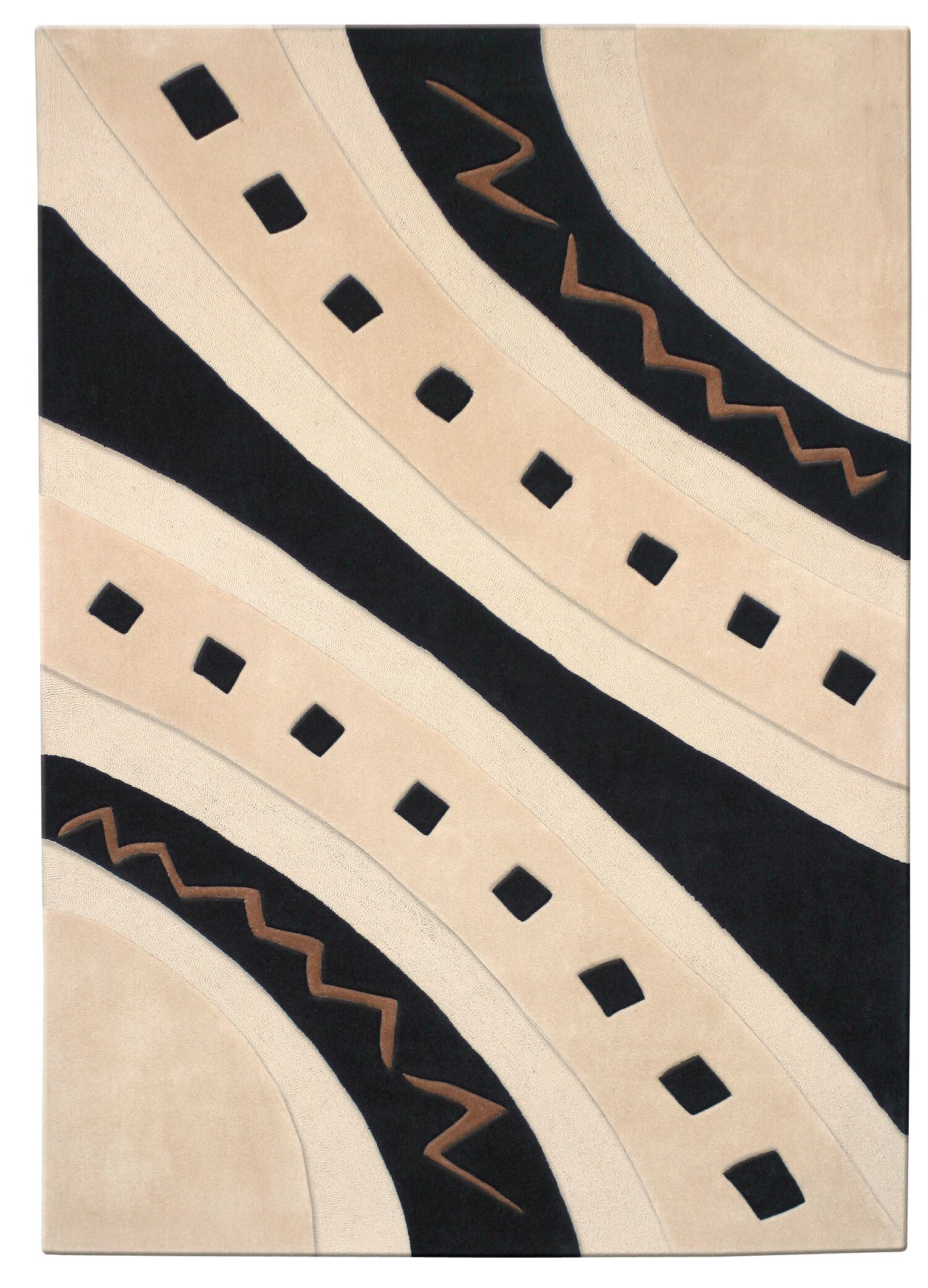 Mystique Ivory/Black Abstract Arches Area Rug Rug Size: Rectangle 6'7