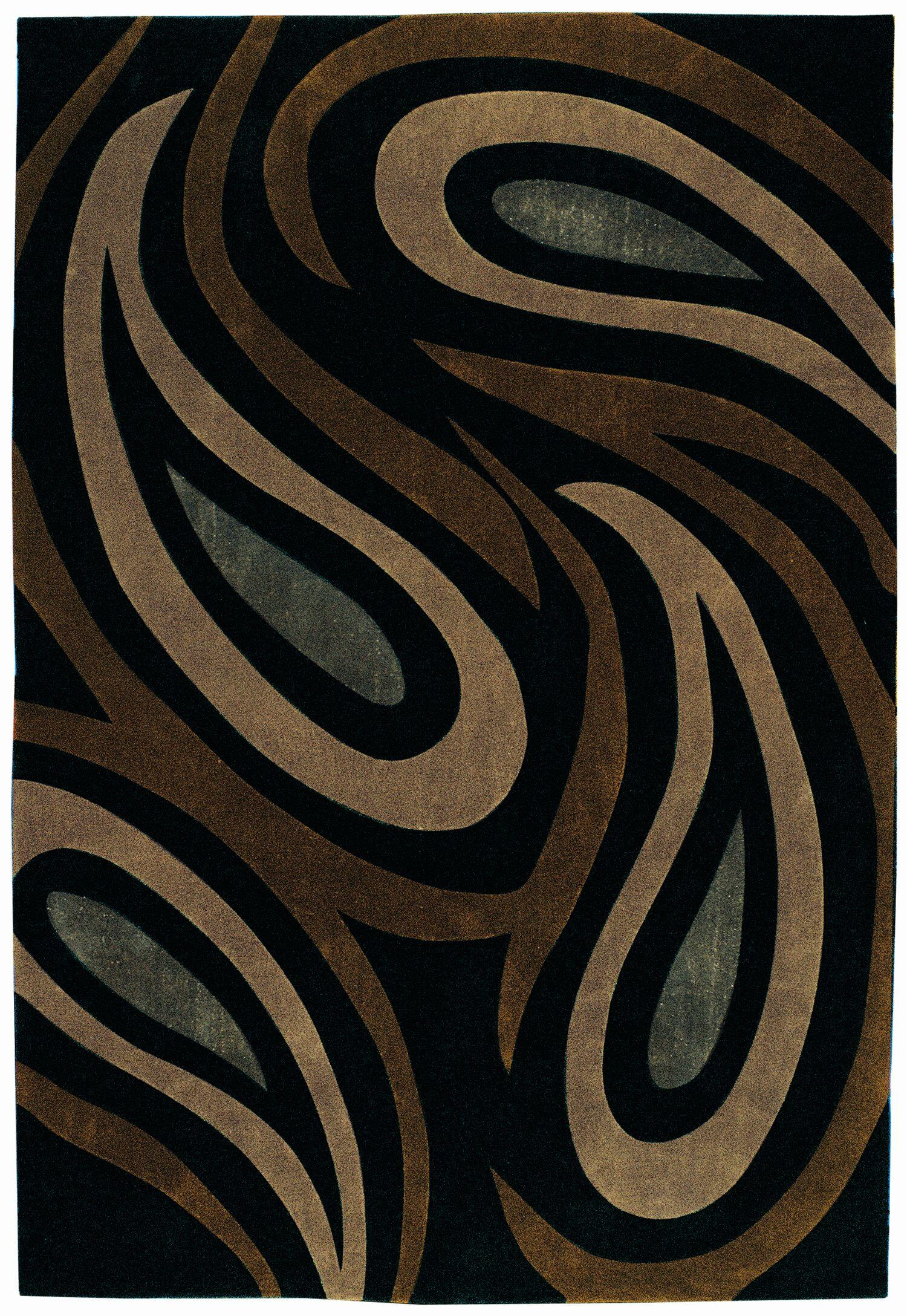 Mystique Brown/Black Paisley Arae Rug Rug Size: Rectangle 7'10