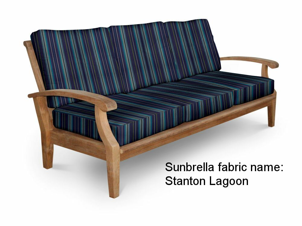 Cayman Teak Patio Sofa with Sunbrella Cushions Fabric: Stanton Lagoon