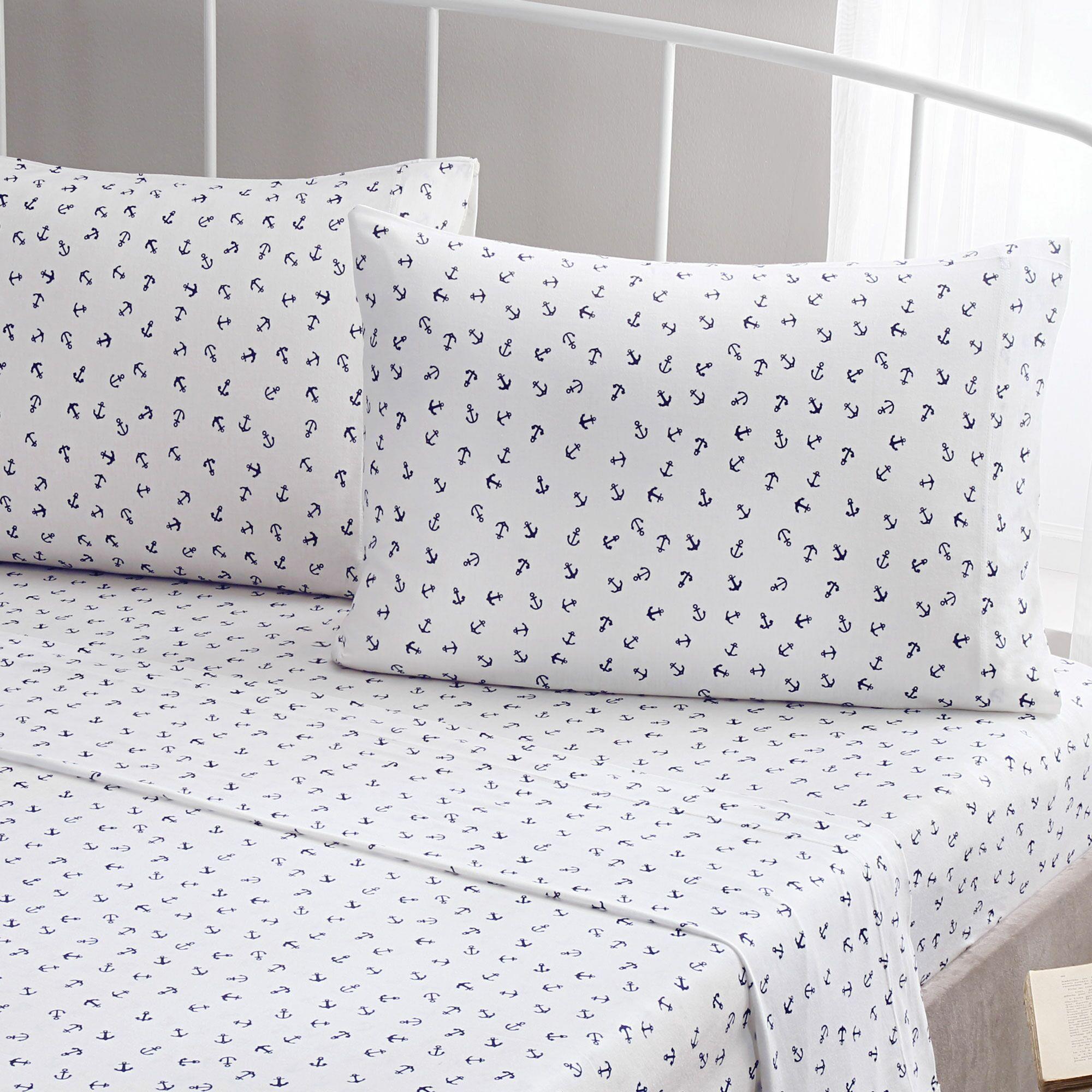 Anchor 100% Printed Cotton Jersey Sheet Set Size: Full