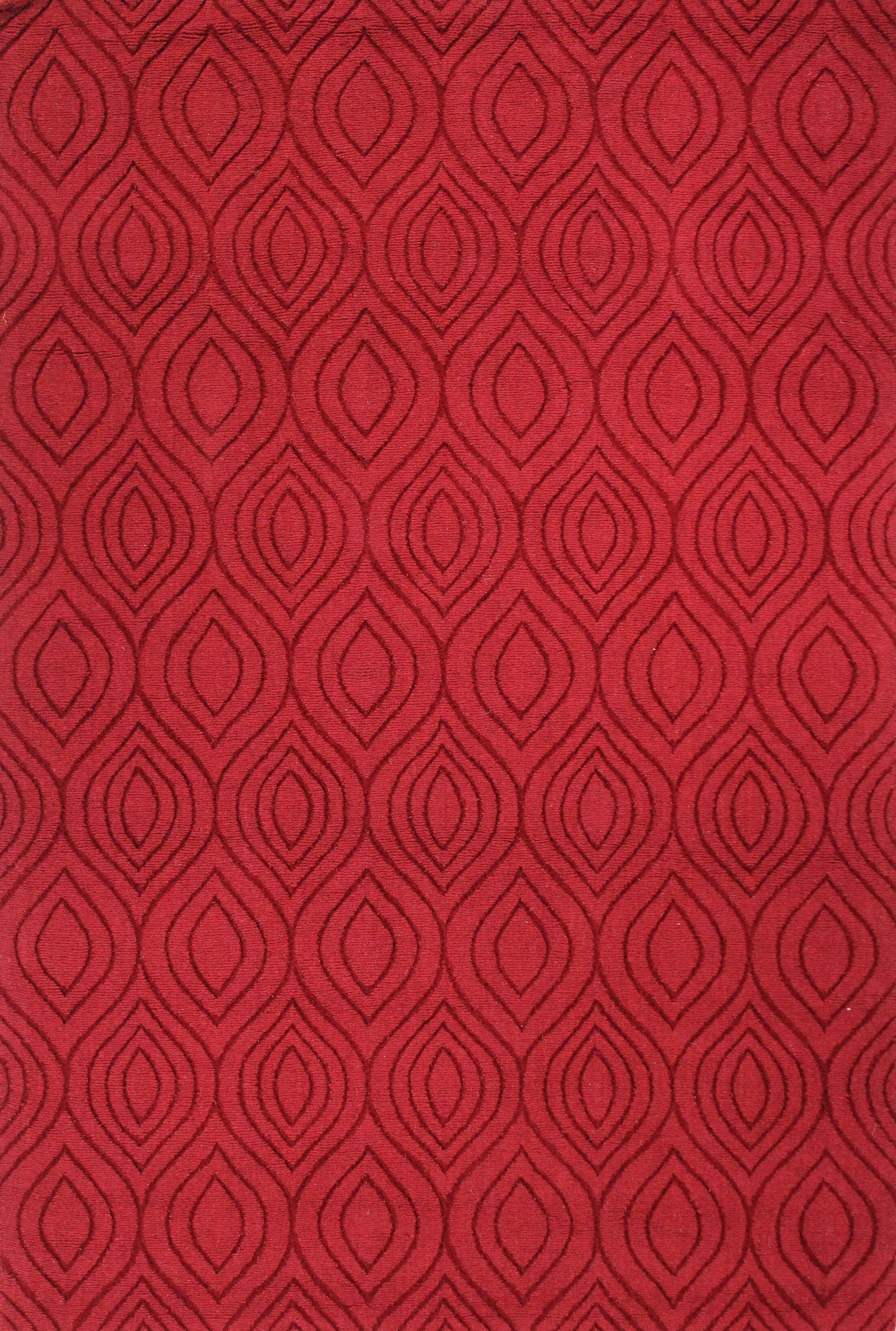 Mizel Handmade Red Area Rug Rug Size: Rectangle 7'6