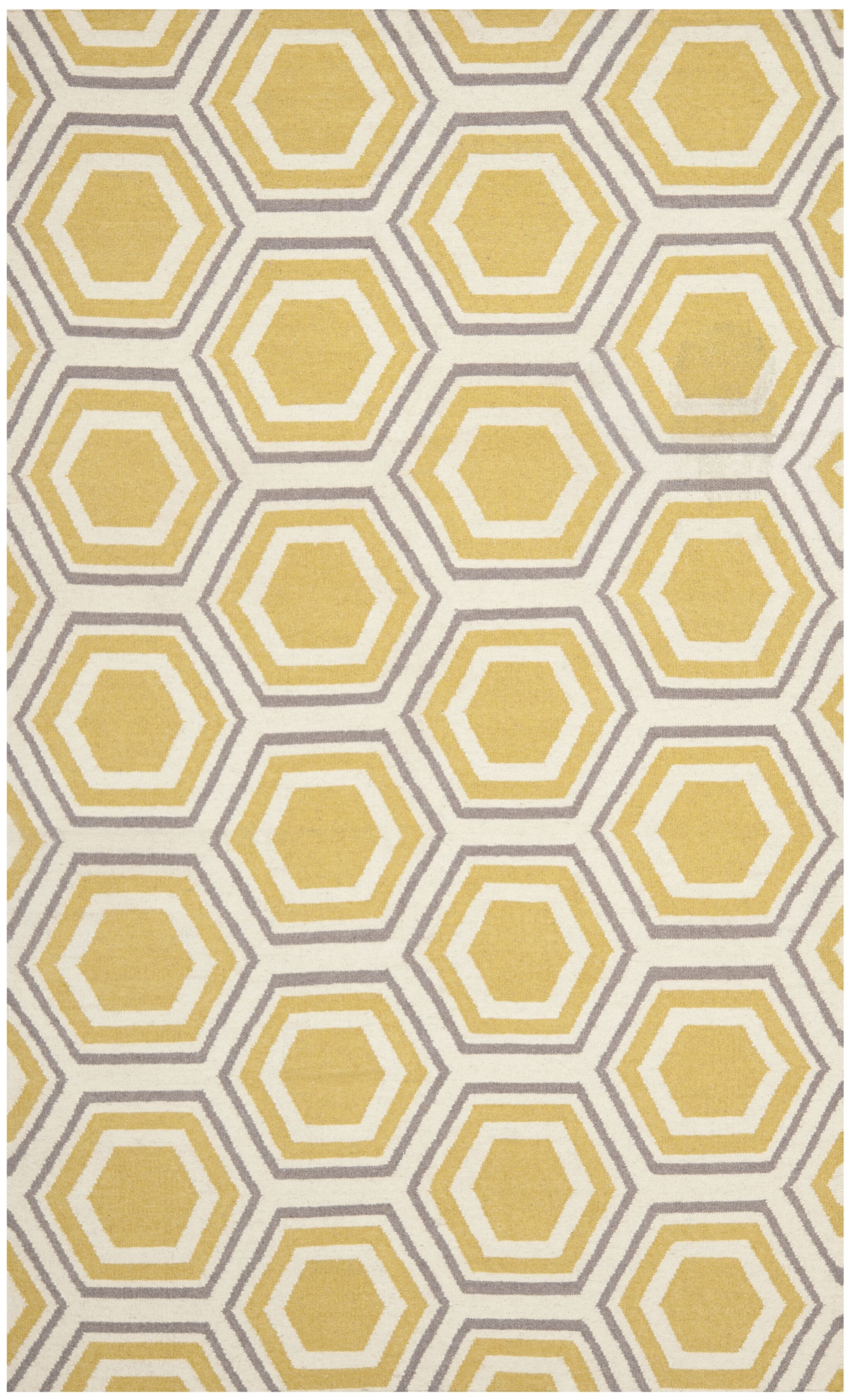 Cassiopeia Hand Woven Ivory/Yellow Area Rug Rug Size: Rectangle 9' x 12'