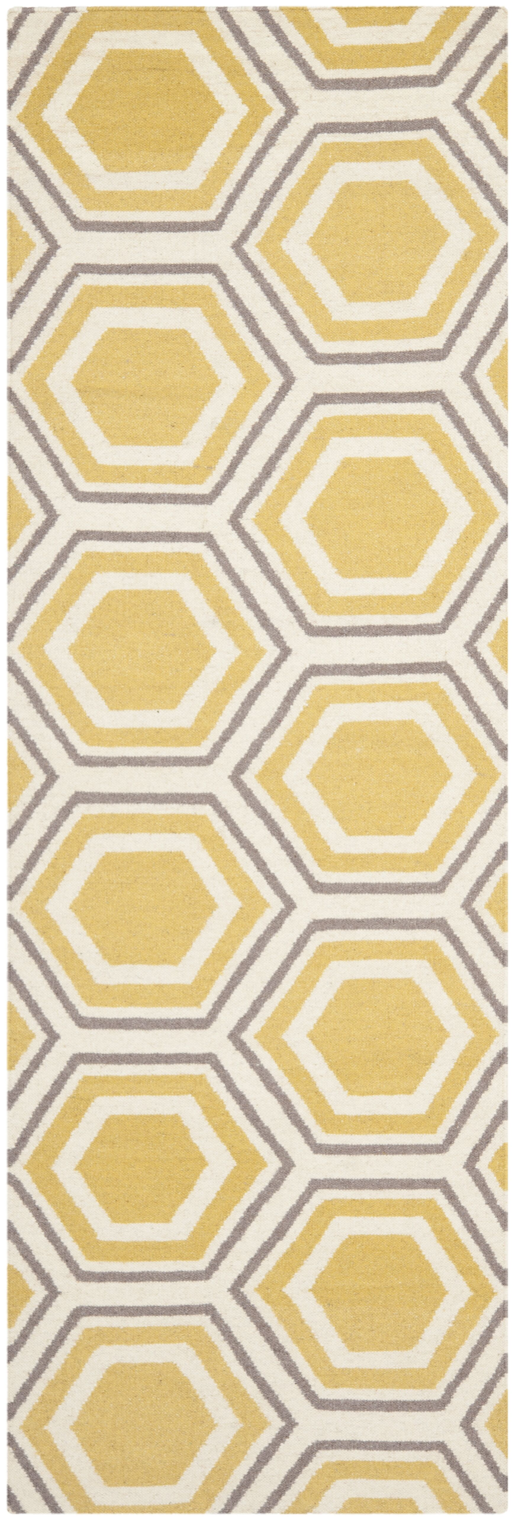Cassiopeia Hand Woven Ivory/Yellow Area Rug Rug Size: Runner 2'6