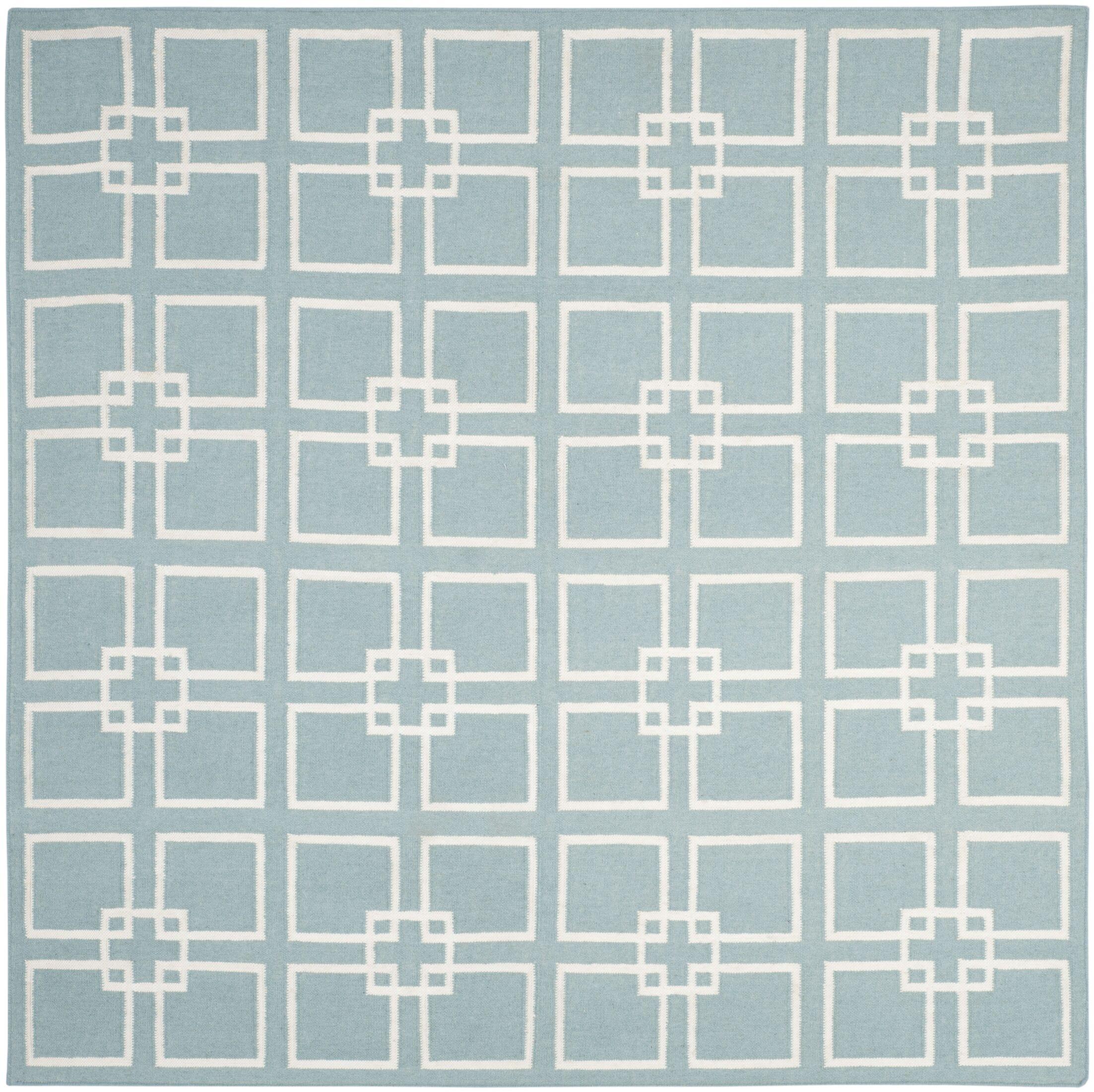 Square Dance Geyser Blue Area Rug Rug Size: Square 7'