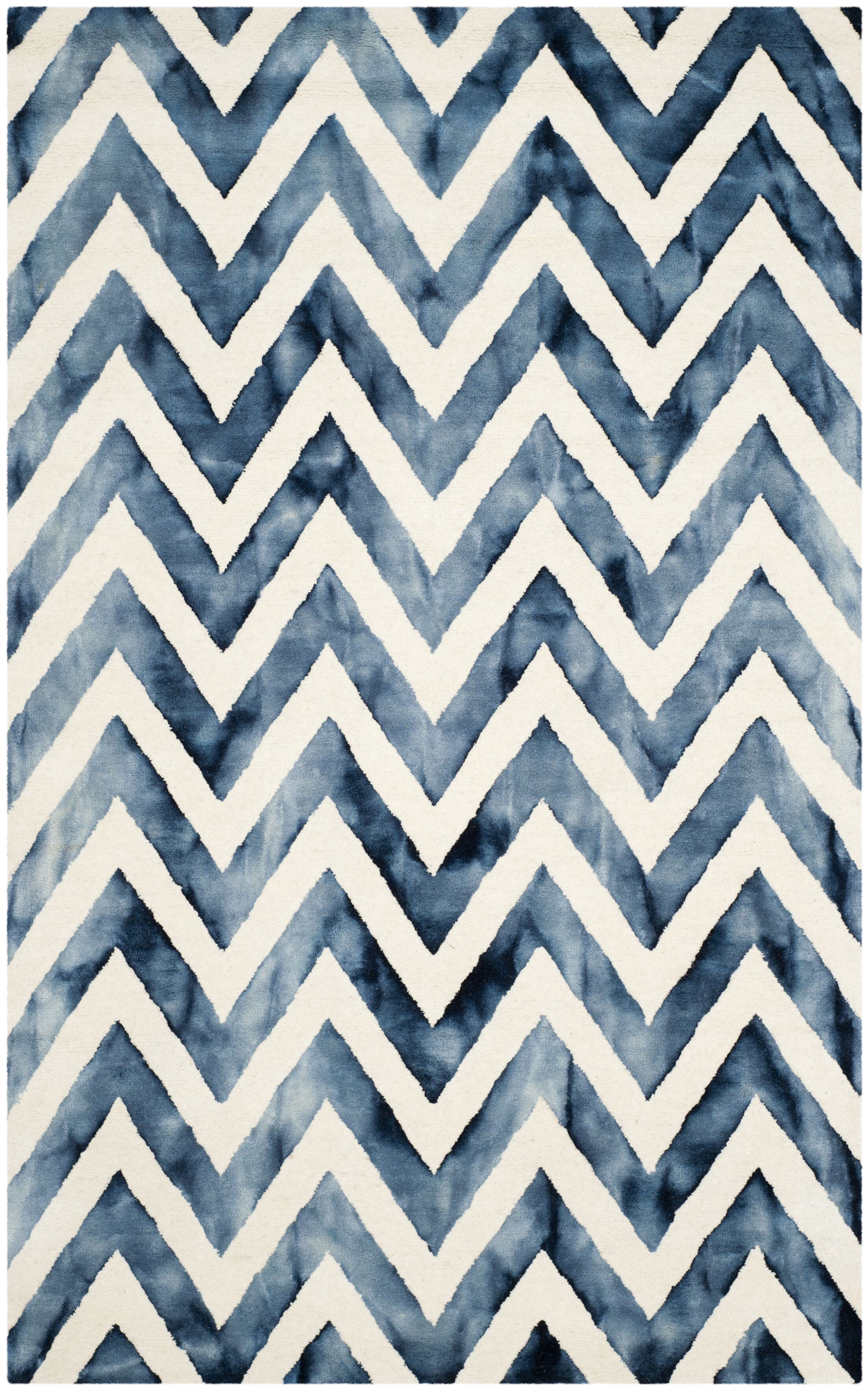 Crux Hand-Tufted Ivory & Navy Area Rug Rug Size: Rectangle 3' x 5'