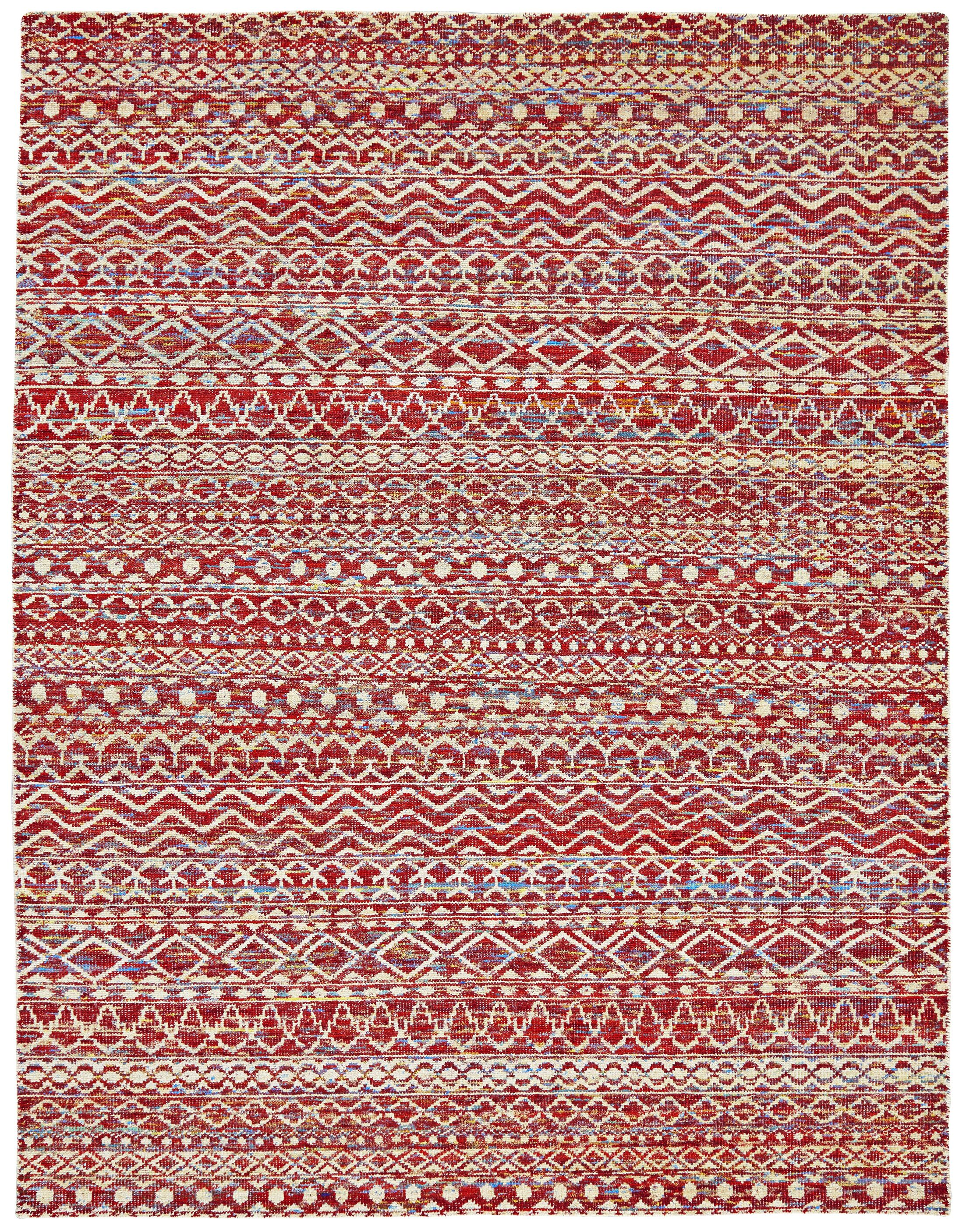 Vojtech Hand-Knotted Crimson Area Rug Rug Size: Rectangle 9'6