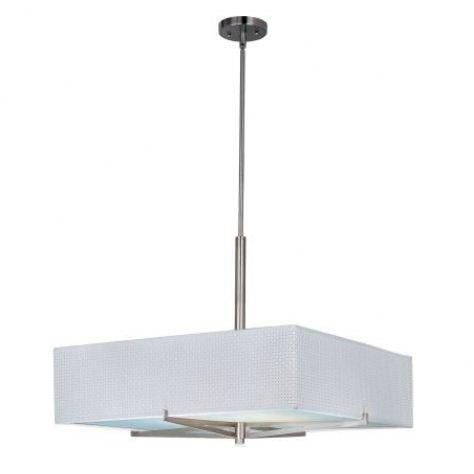 Denning 3-Light Square/Rectangle Chandelier Color / Width / Shade: Satin Nickel / 7