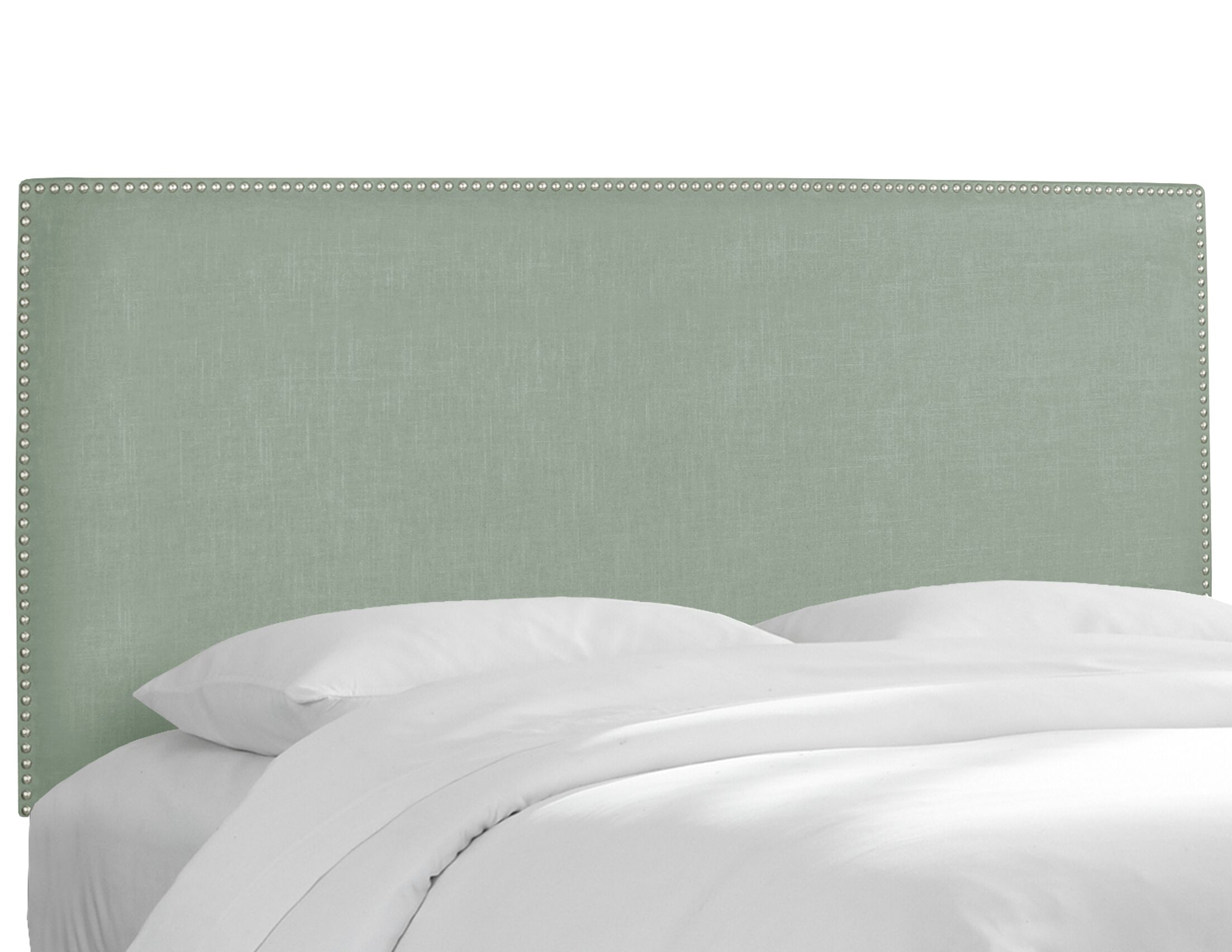 Upholstered Panel Headboard Size: Full, Upholstery: Linen Swedish Blue