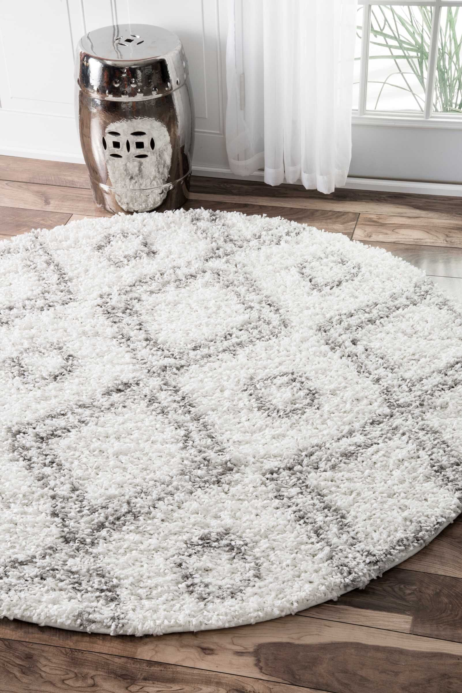 Baxley White Area Rug Rug Size: Round 7'10