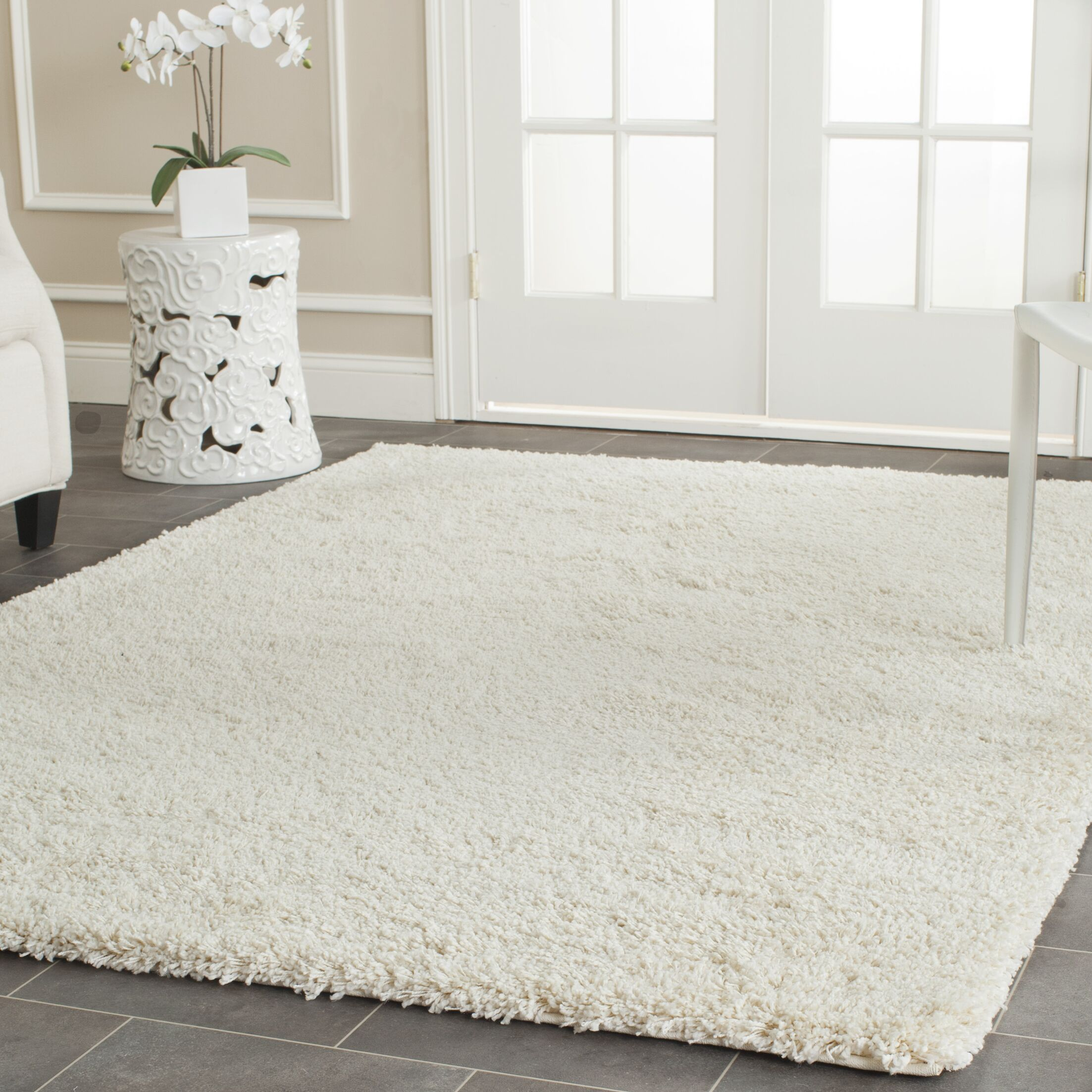 Mckeehan Shag and Flokati Ivory Area Rug Rug Size: Rectangle 8' x 10'