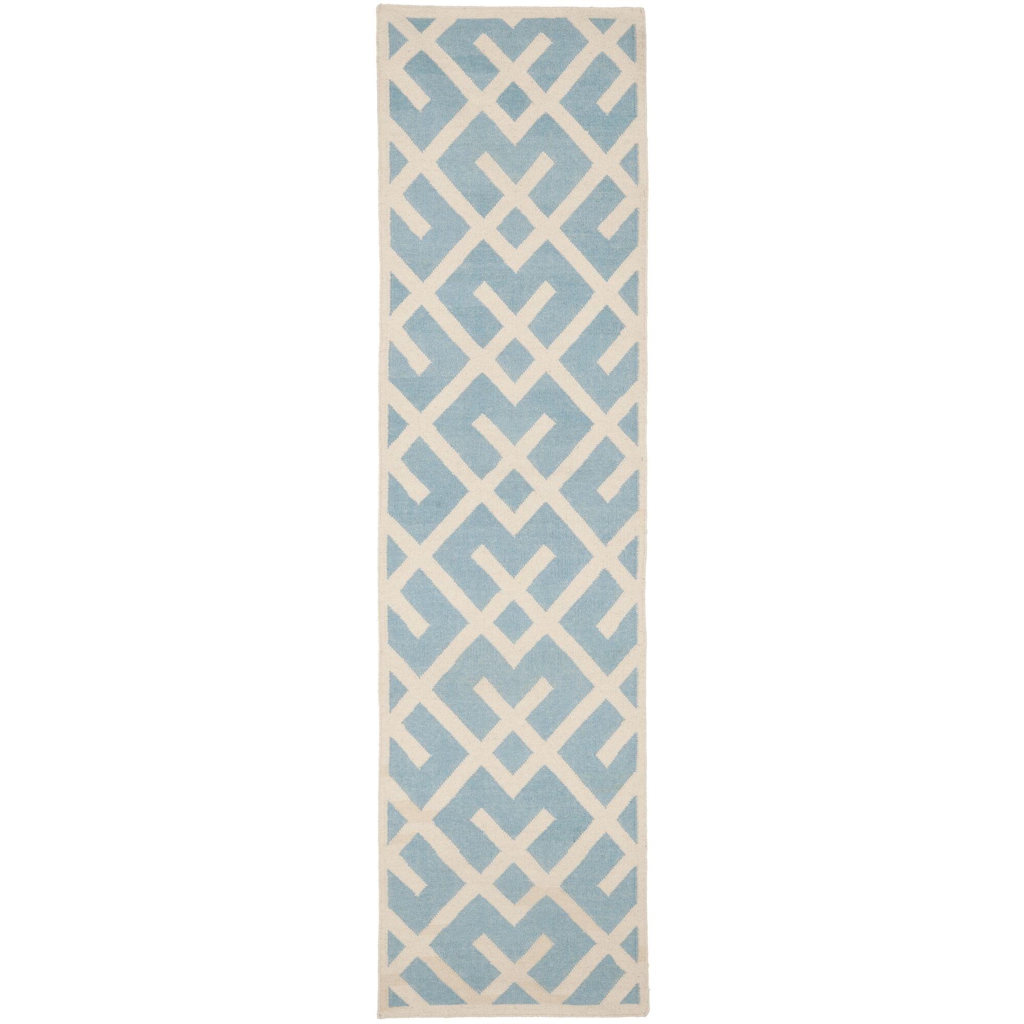Cassiopeia Handmade Light Blue/Ivory Area Rug Rug Size: Runner 2'6