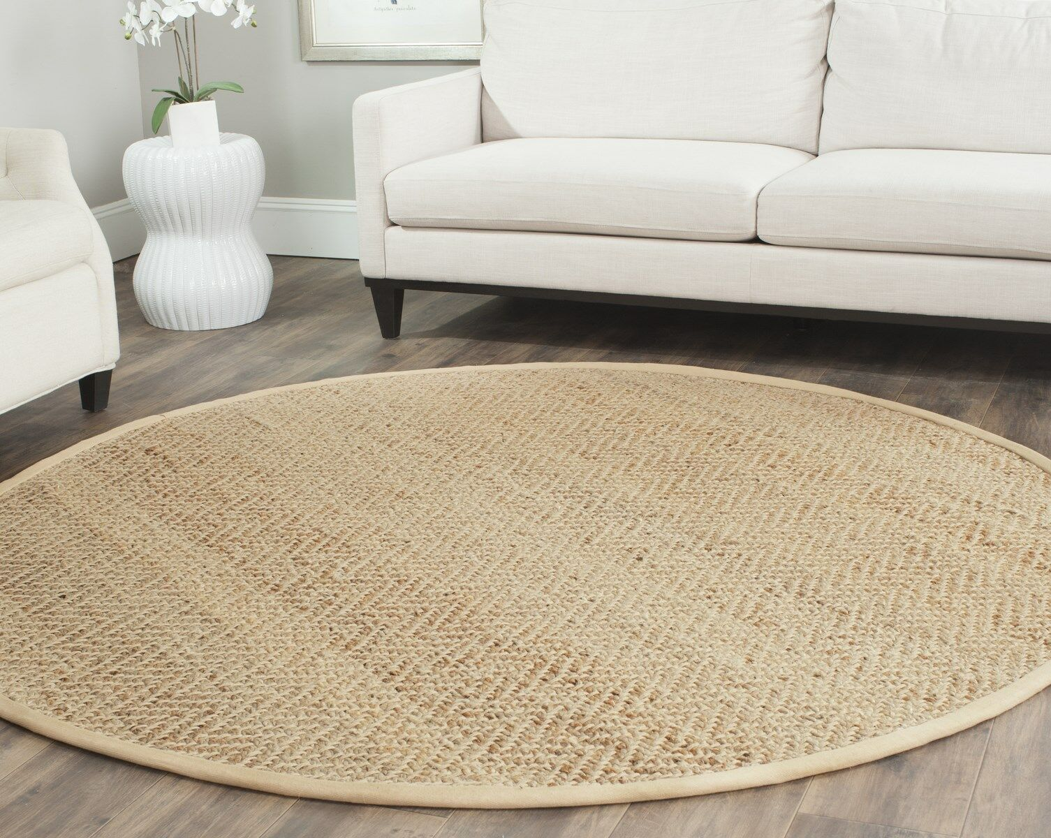 Michaels Hand-Loomed Beige Area Rug Rug Size: Round 5'