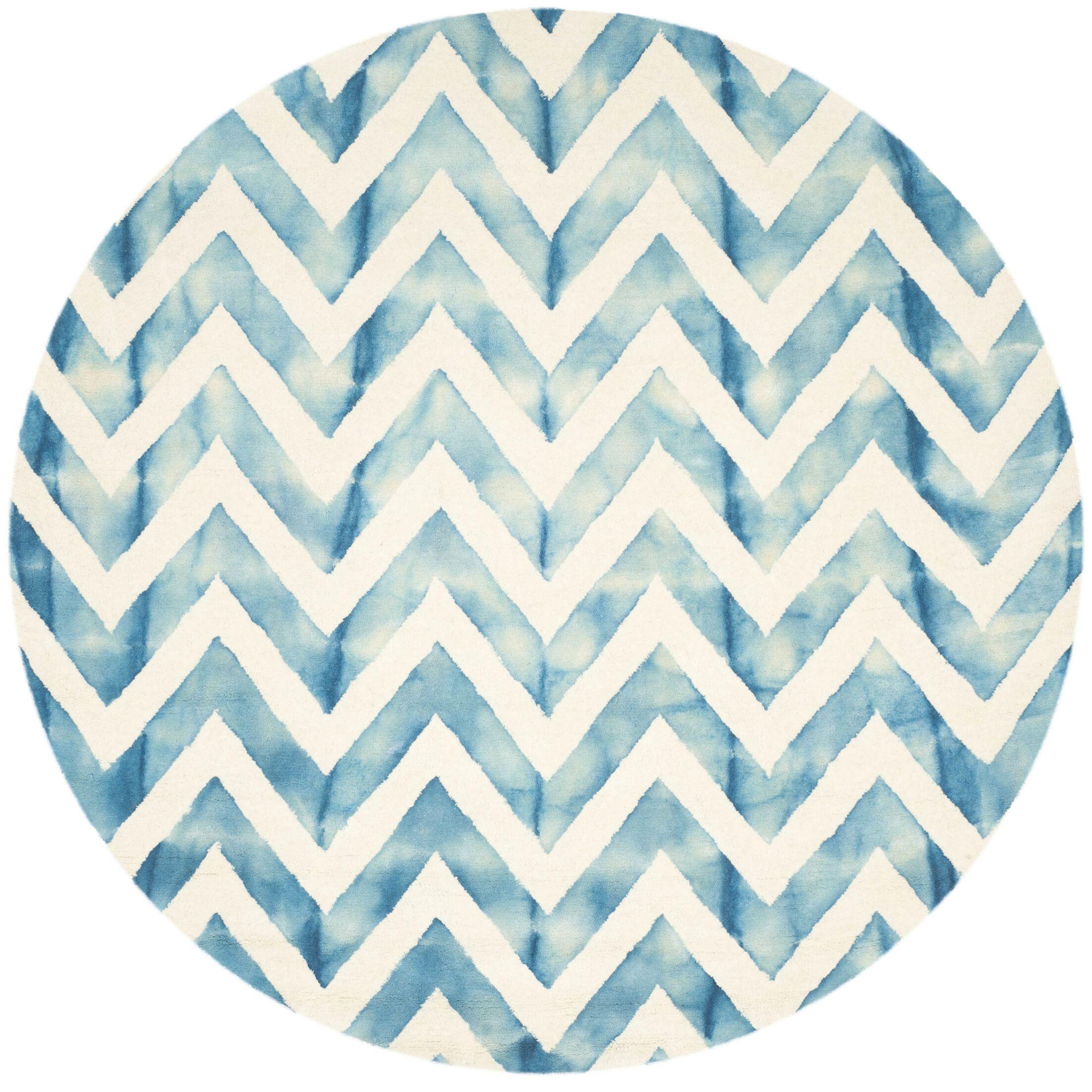 Crux Ivory/Turquoise Area Rug Rug Size: Round 7'