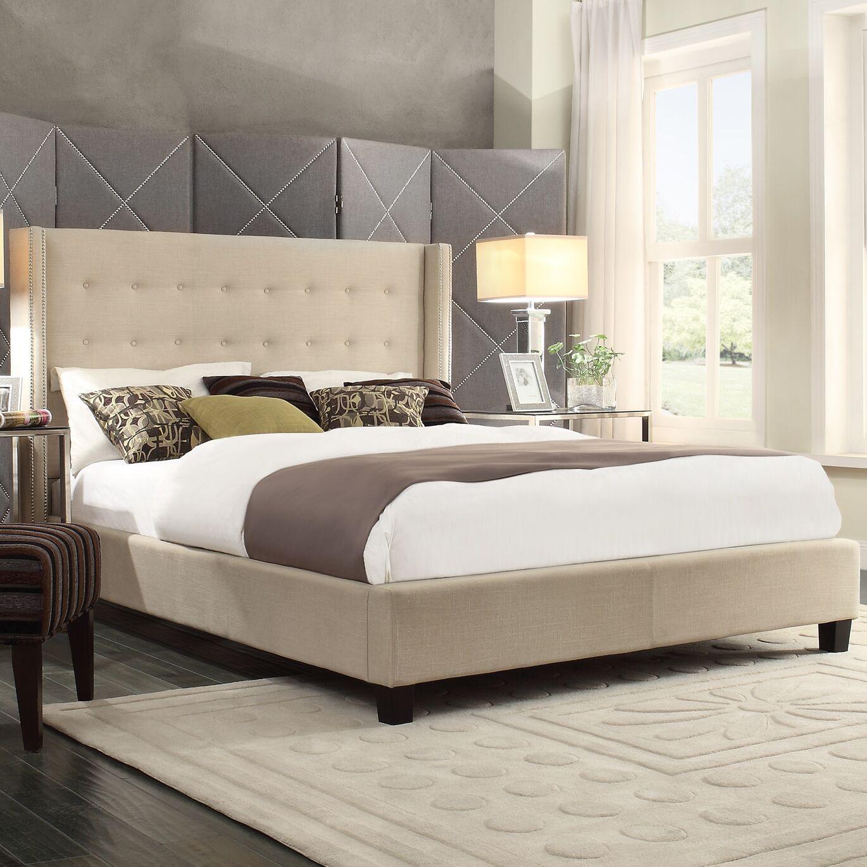 Tramel Linen Upholstered Platform Bed Color: Beige, Size: Full