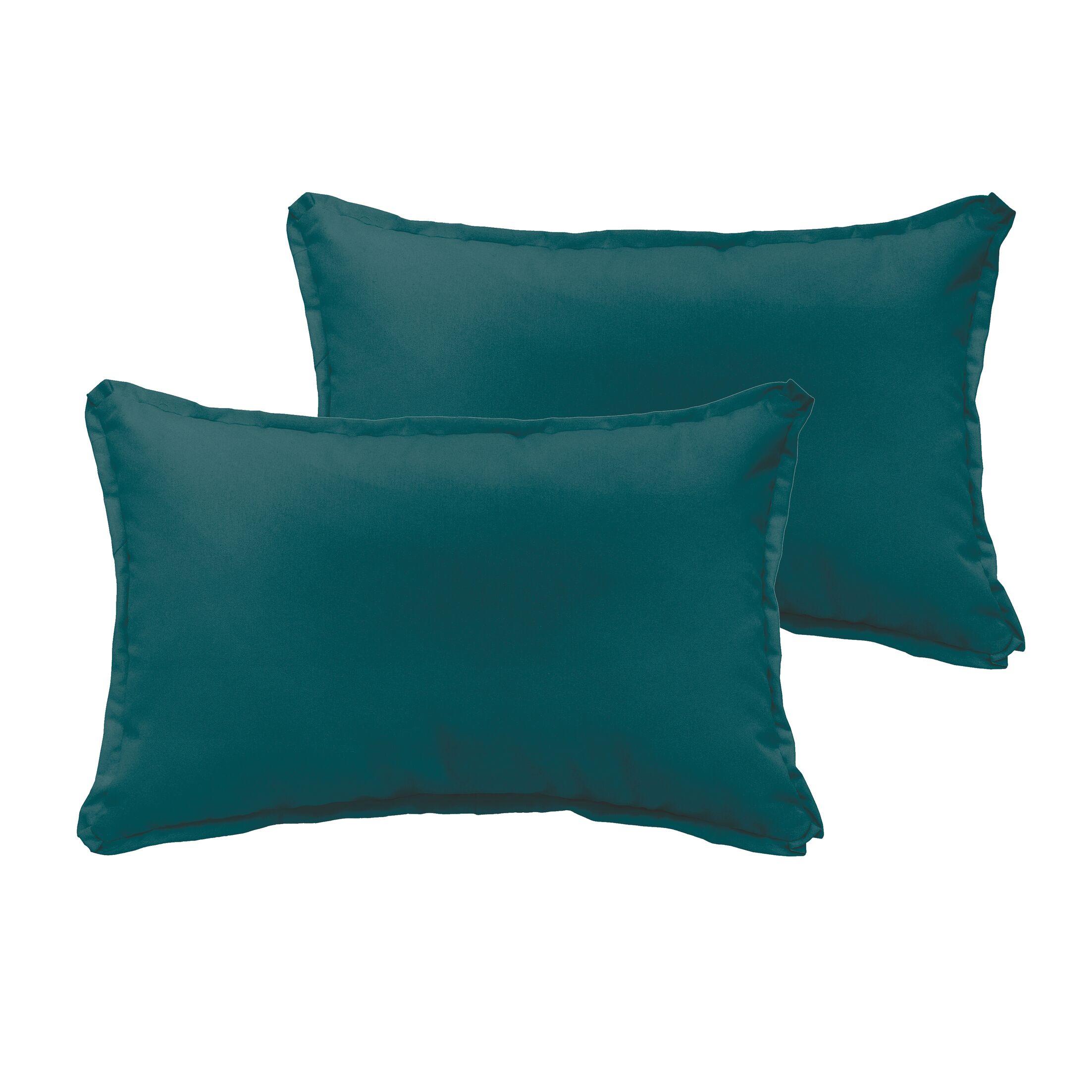 Branan Indoor/Outdoor Pillow Set Color: Teal, Size: 12