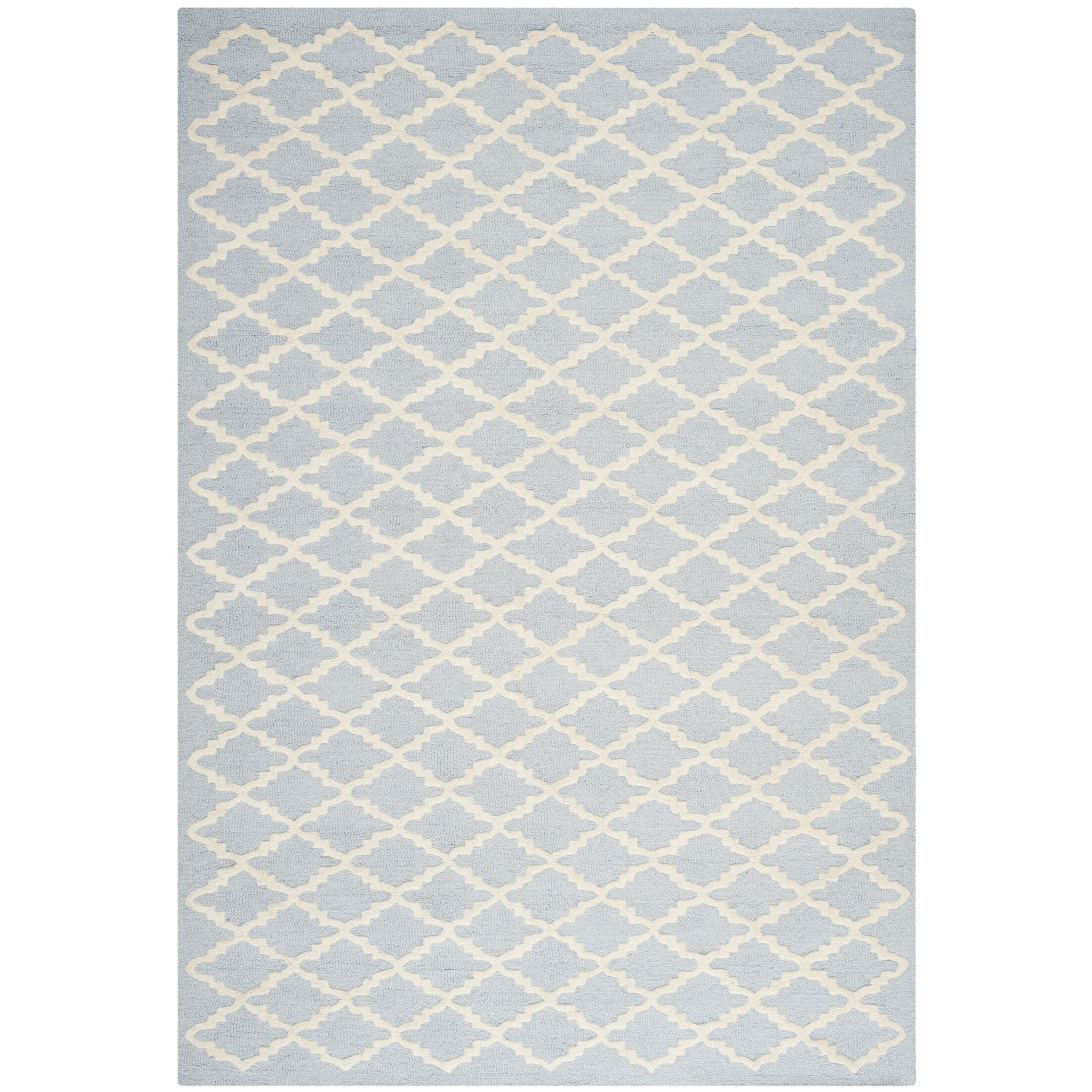 Darla Hand-Tufted Wool Light Blue/Ivory Area Rug Rug Size: Rectangle 6' x 9'