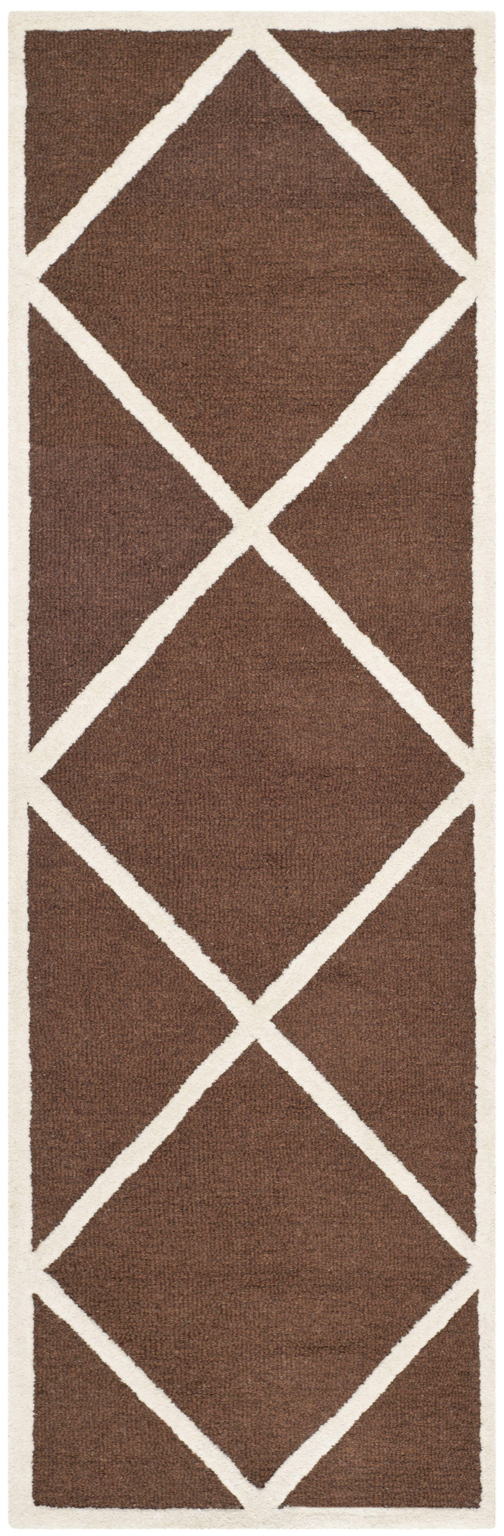 Darla Hand-Tufted Wool Dark Brown/Ivory Area Rug Rug Size: Runner 2'6