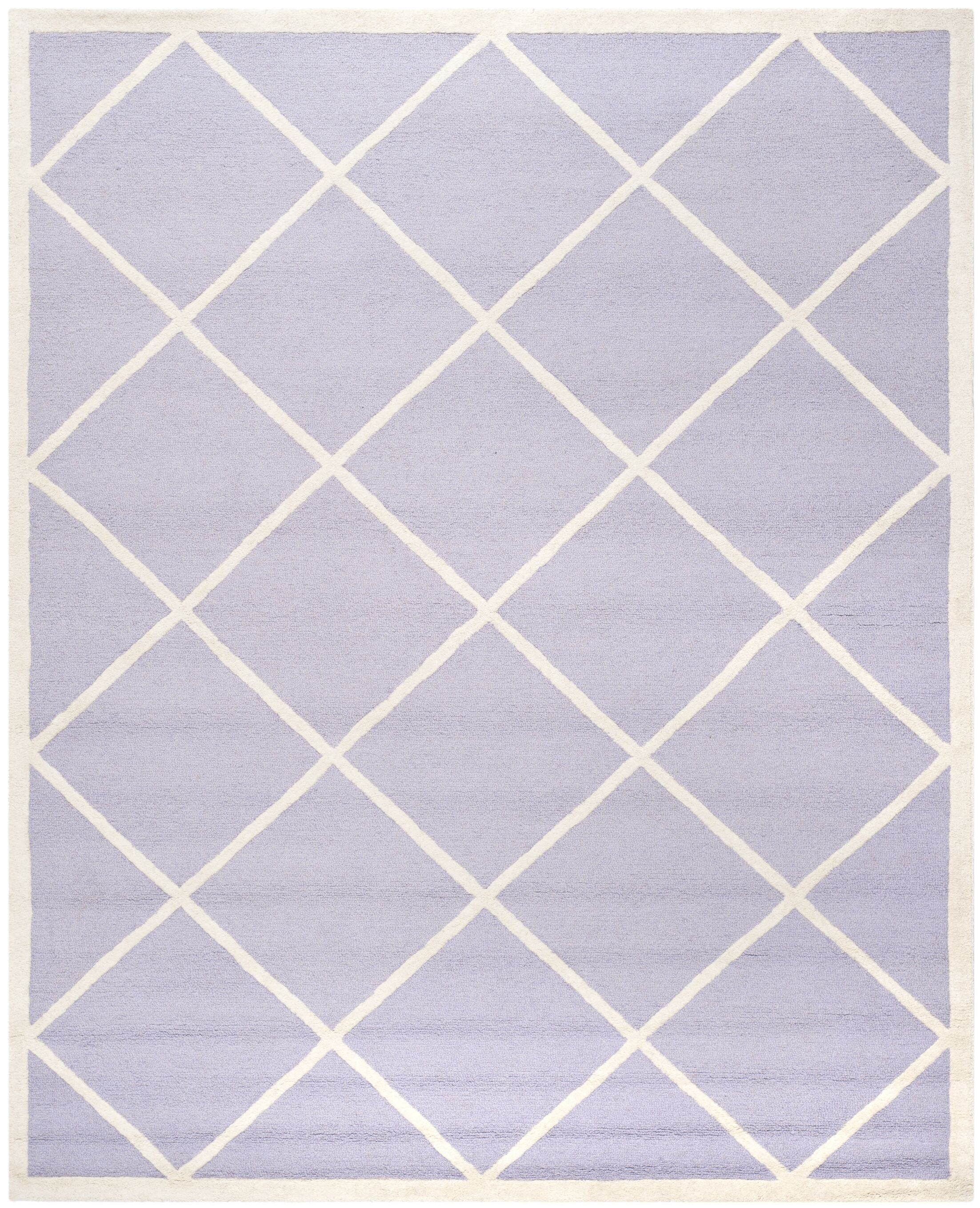 Martins Hand-Tufted Wool Lavander/Ivory Area Rug Rug Size: Rectangle 6' x 9'