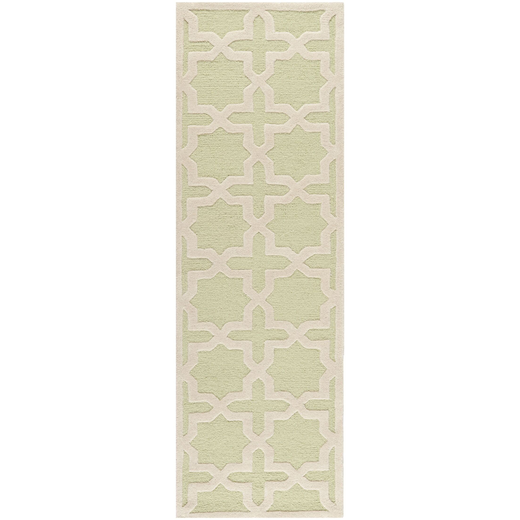 Darla Hand-Tufted Wool Light Green/Ivory Area Rug Rug Size: Runner 2'6