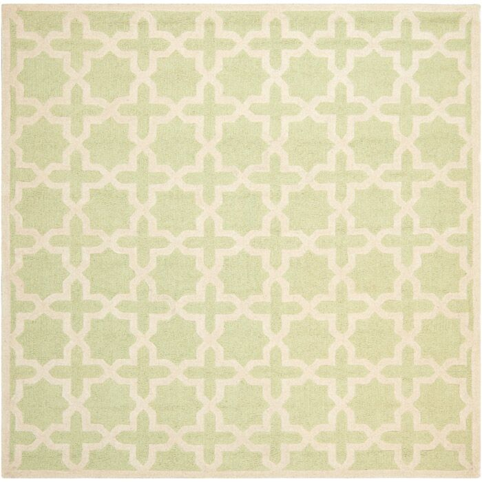 Darla Hand-Tufted Wool Light Green/Ivory Area Rug Rug Size: Square 6'