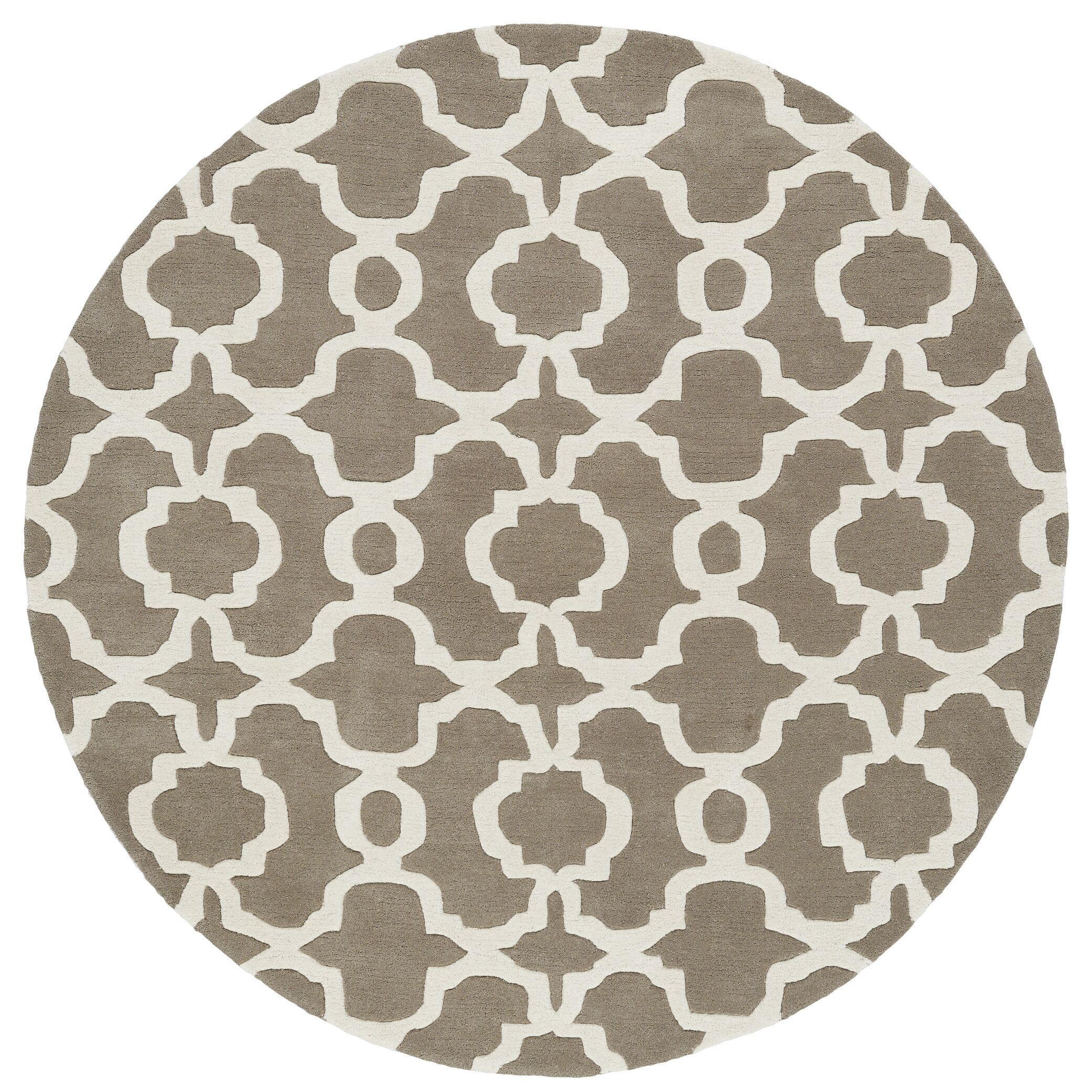 Molly Hand-Tufted Light Brown / Ivory Area Rug Rug Size: Round 5'9