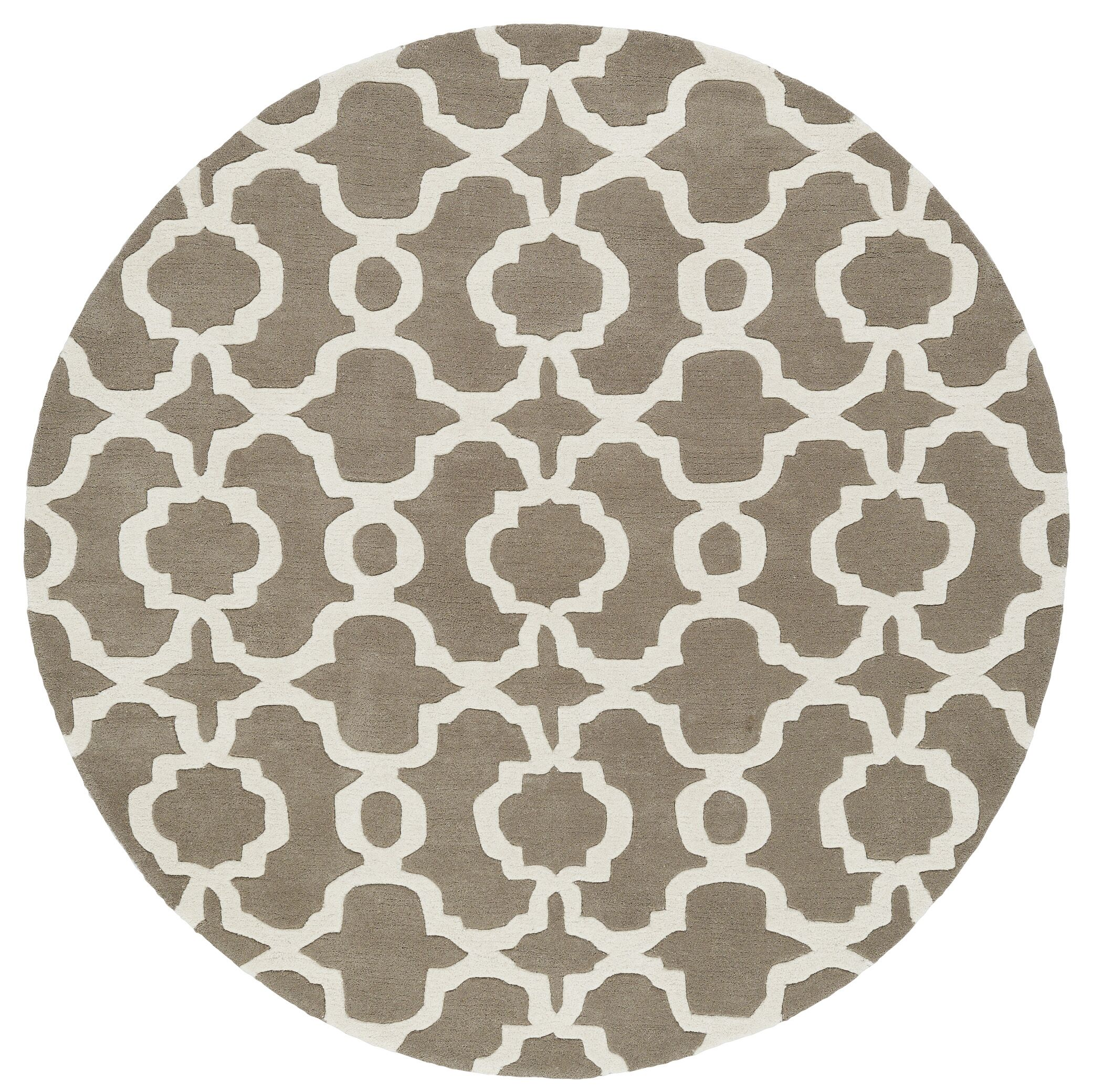 Molly Hand-Tufted Light Brown / Ivory Area Rug Rug Size: Round 7'9