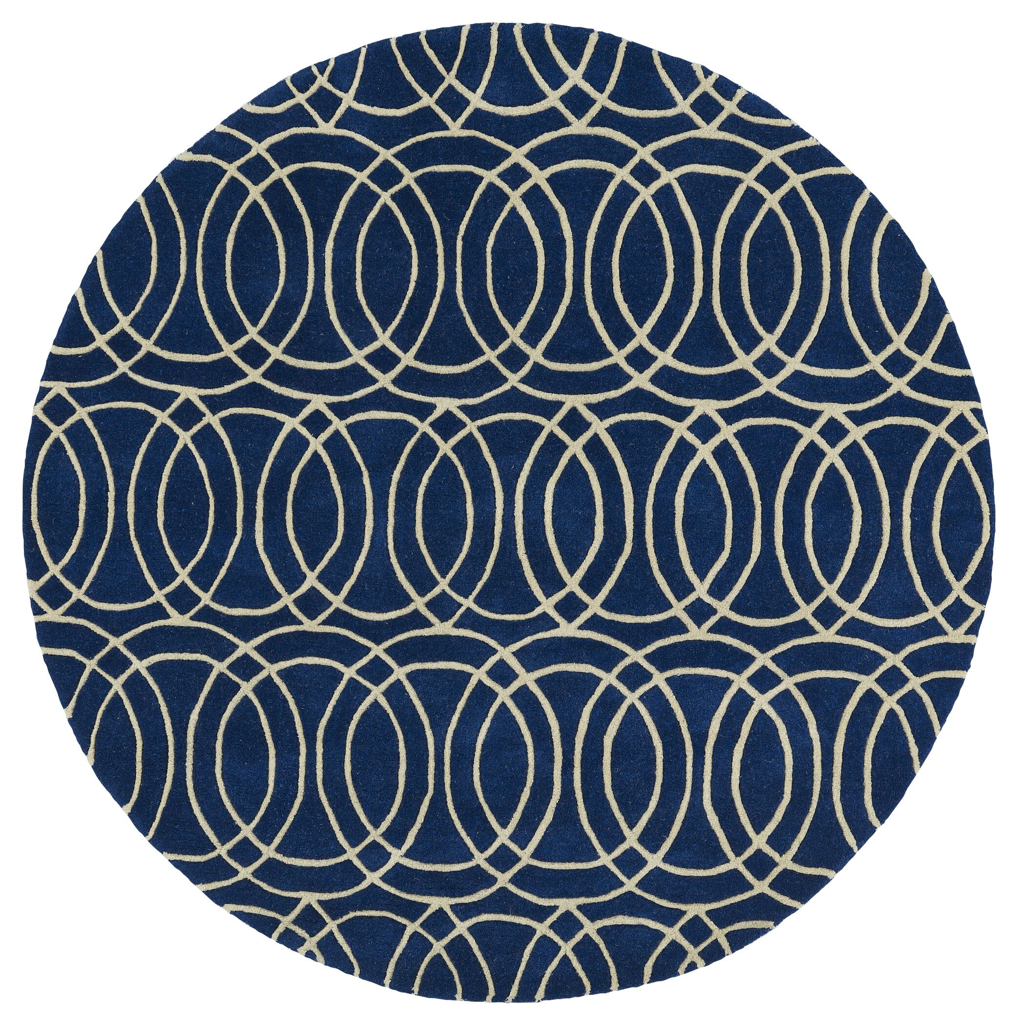 Molly Hand-Tufted Navy / Ivory Area Rug Rug Size: Round 7'9