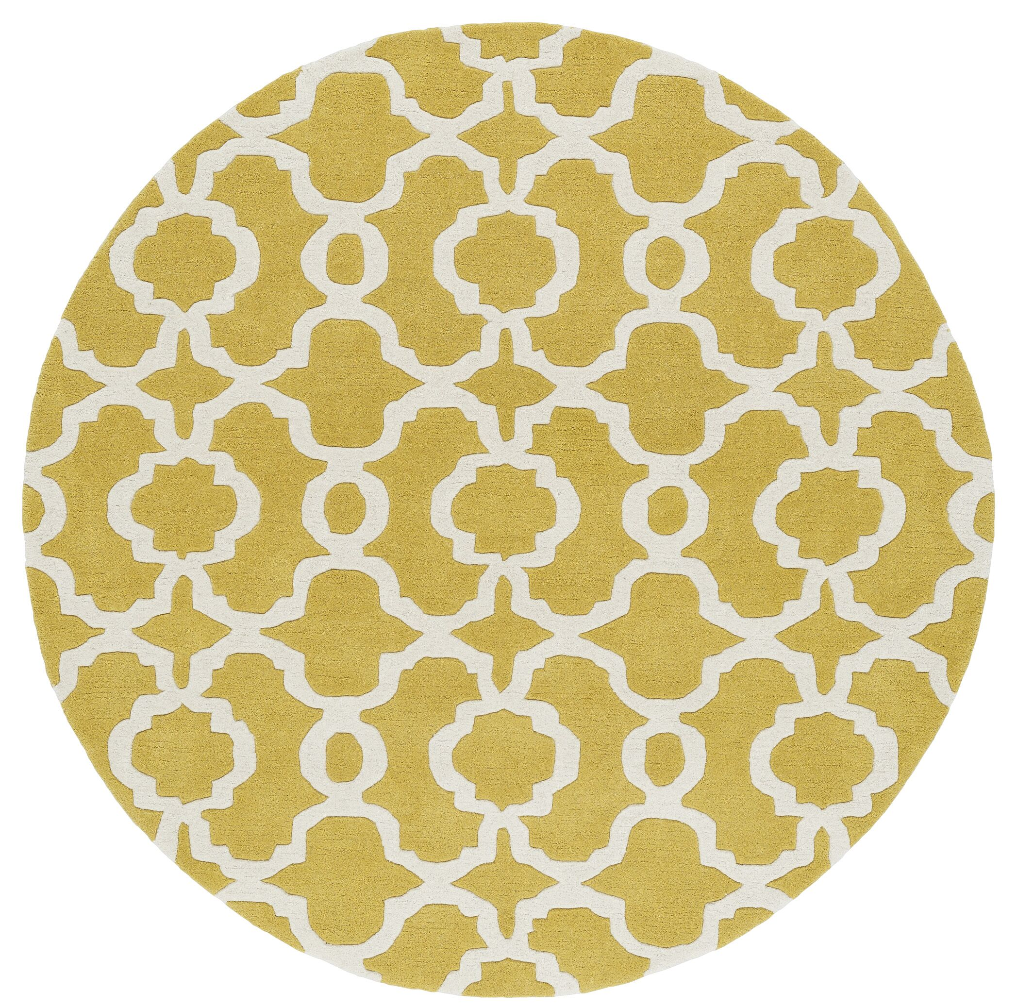 Molly Hand-Tufted Yellow / Ivory Area Rug Rug Size: Round 5'9