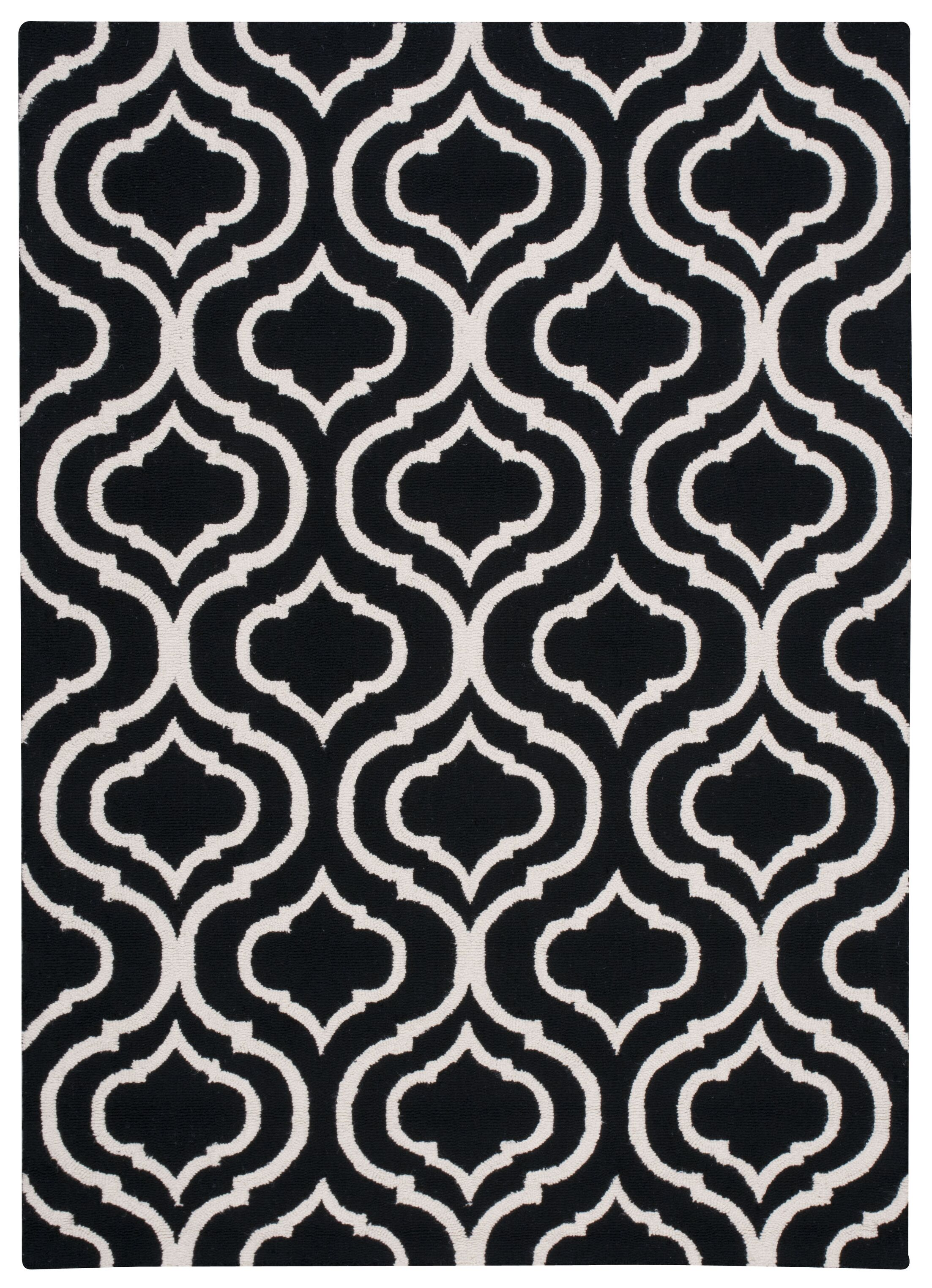 Aidyn Hand-Hooked Black Area Rug Rug Size: Rectangle 7'6