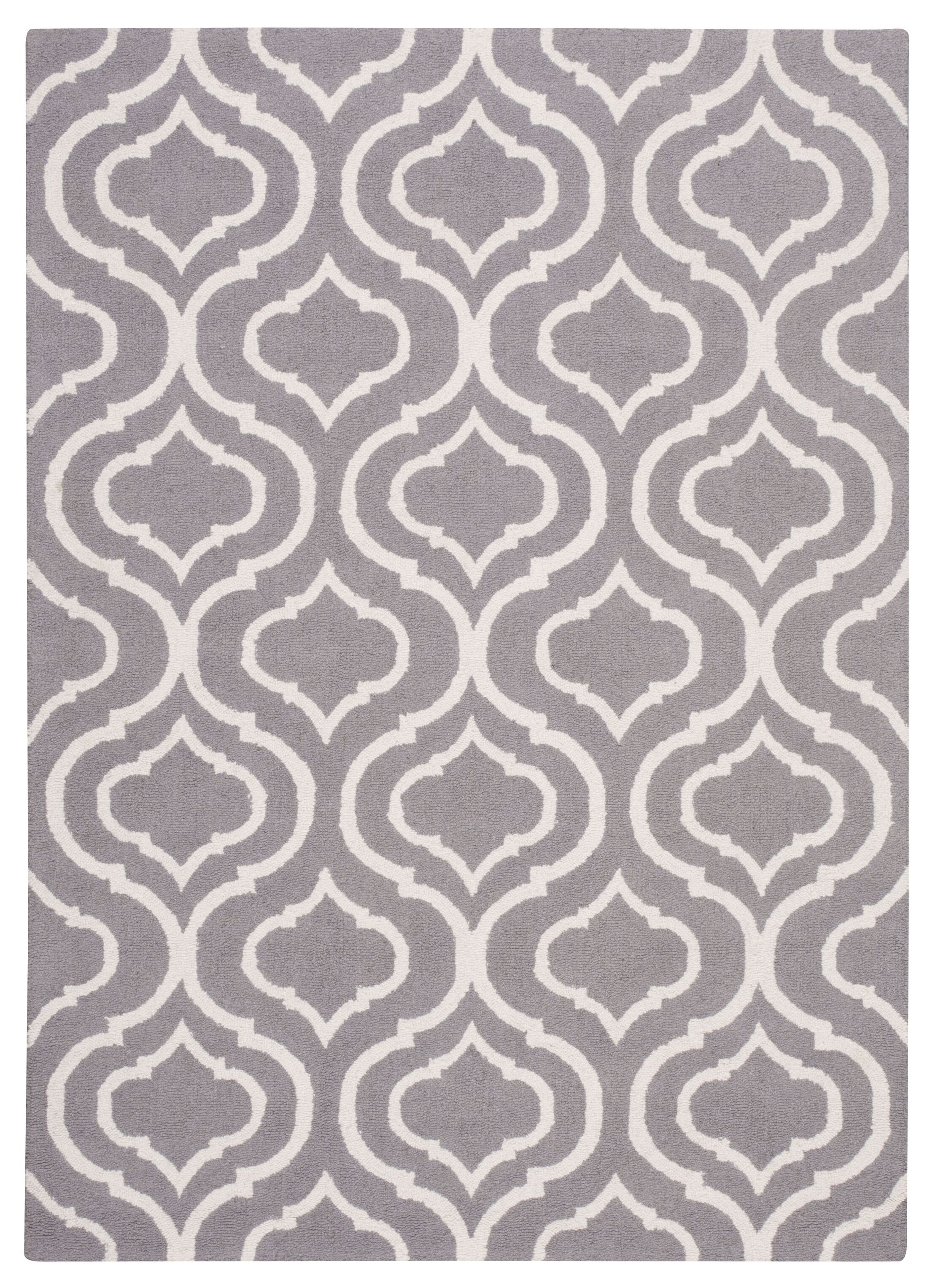 Aidyn Hand-Hooked Gray Area Rug Rug Size: Rectangle 3'9